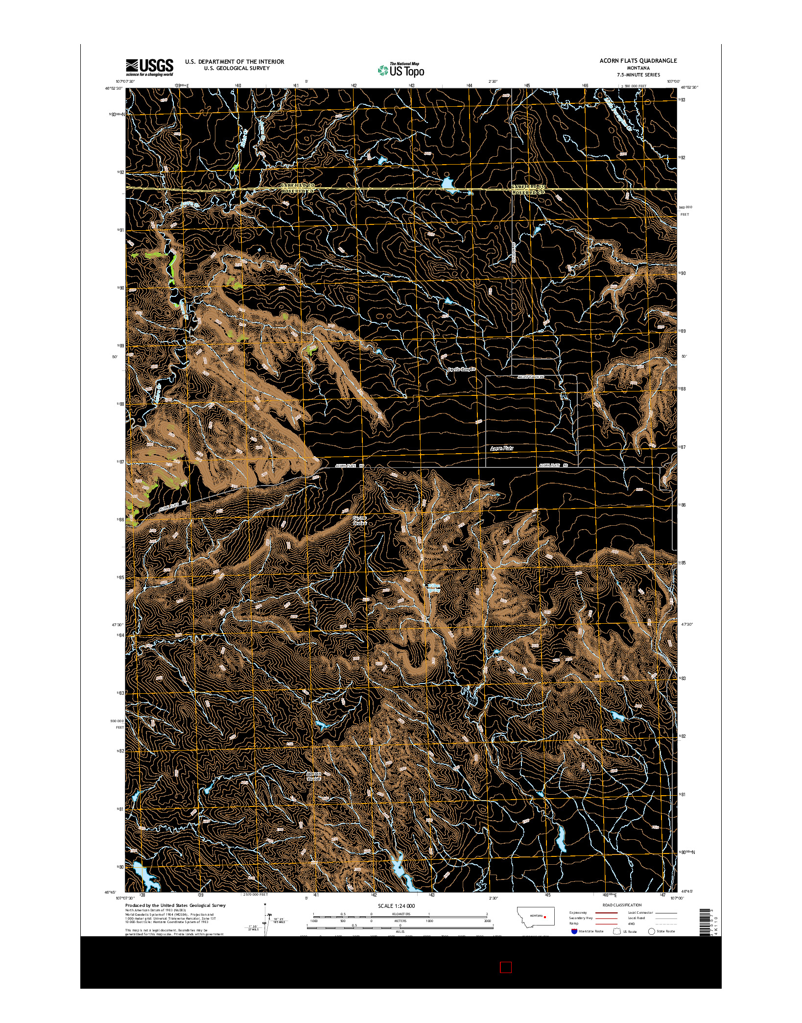USGS US TOPO 7.5-MINUTE MAP FOR ACORN FLATS, MT 2014
