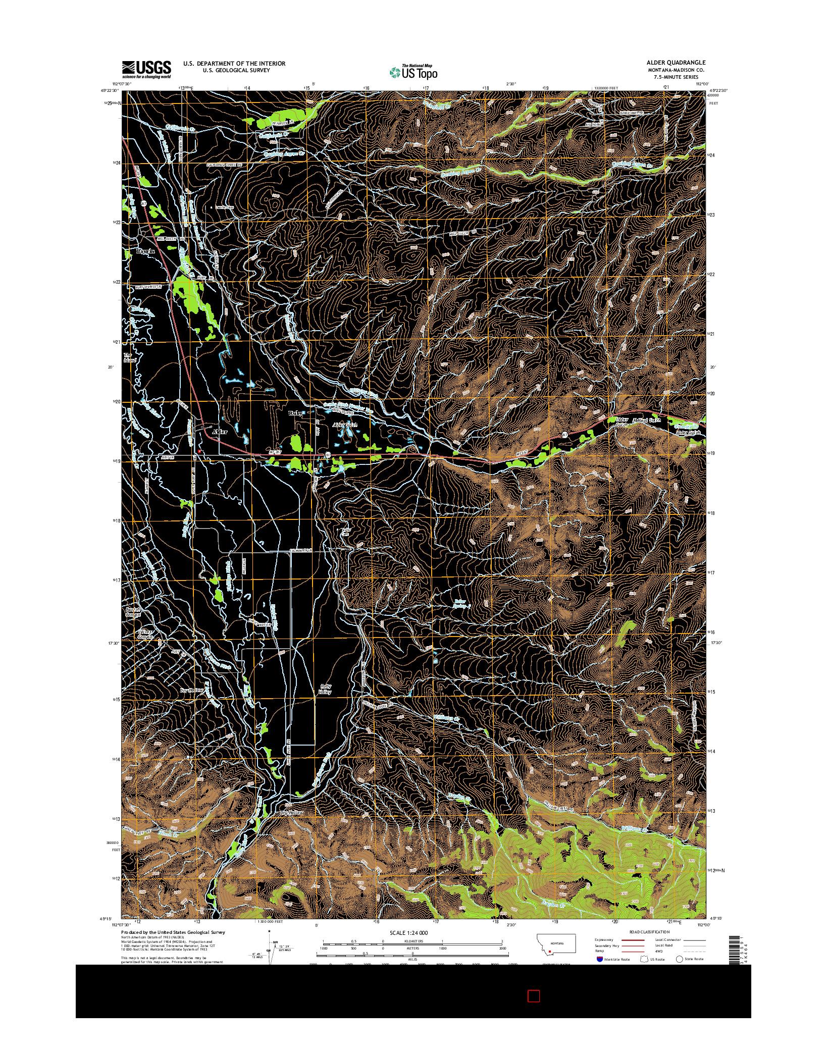 USGS US TOPO 7.5-MINUTE MAP FOR ALDER, MT 2014