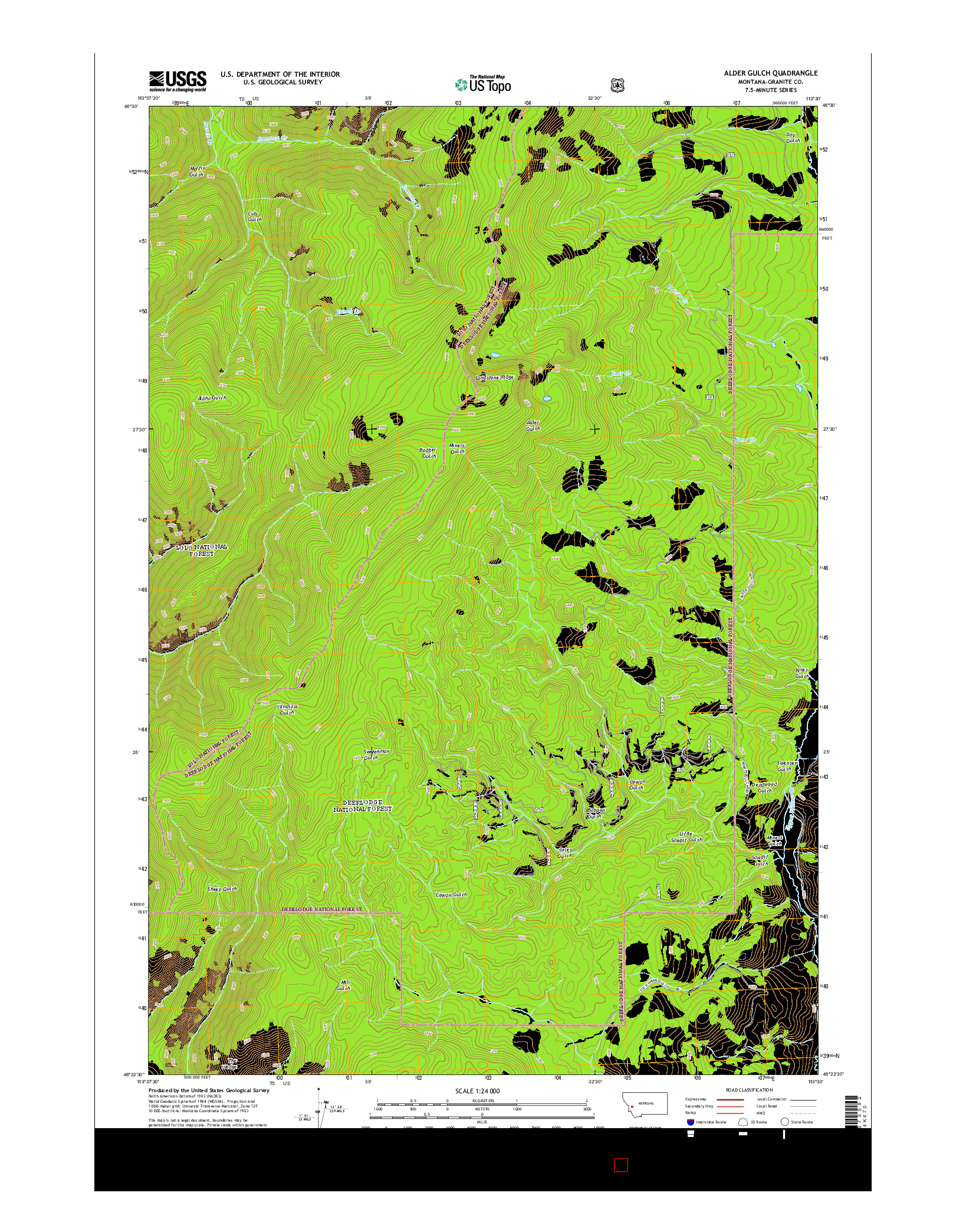 USGS US TOPO 7.5-MINUTE MAP FOR ALDER GULCH, MT 2014