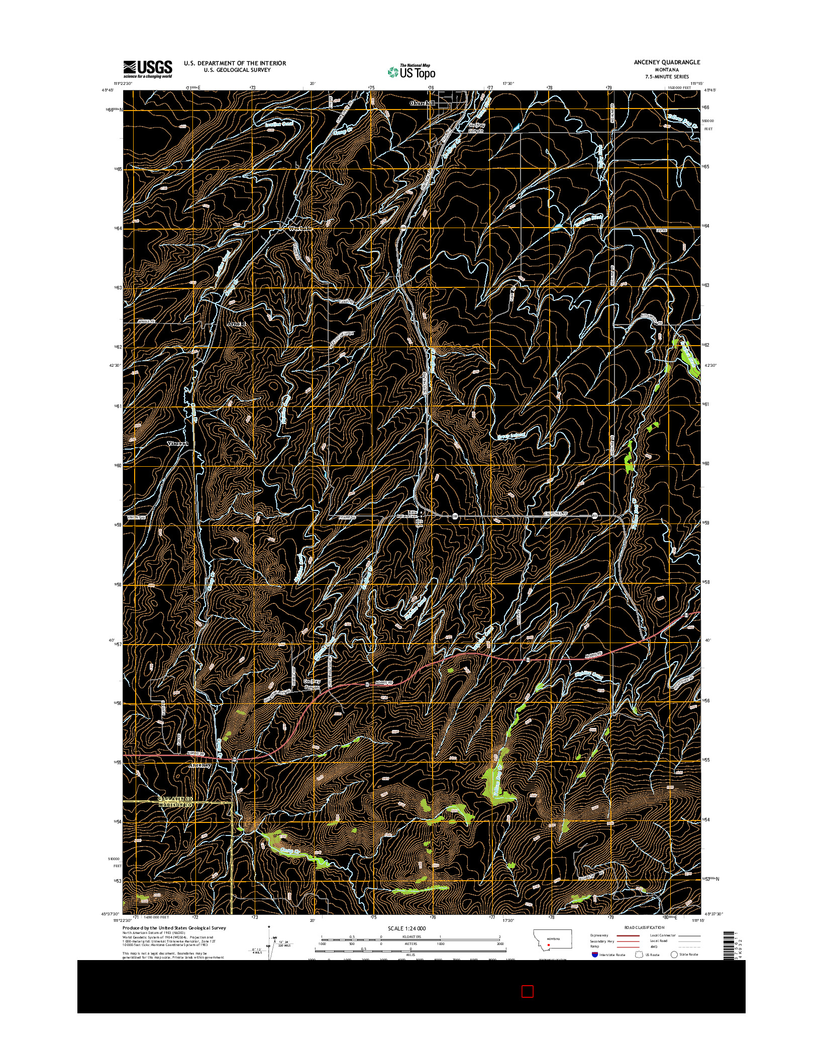 USGS US TOPO 7.5-MINUTE MAP FOR ANCENEY, MT 2014