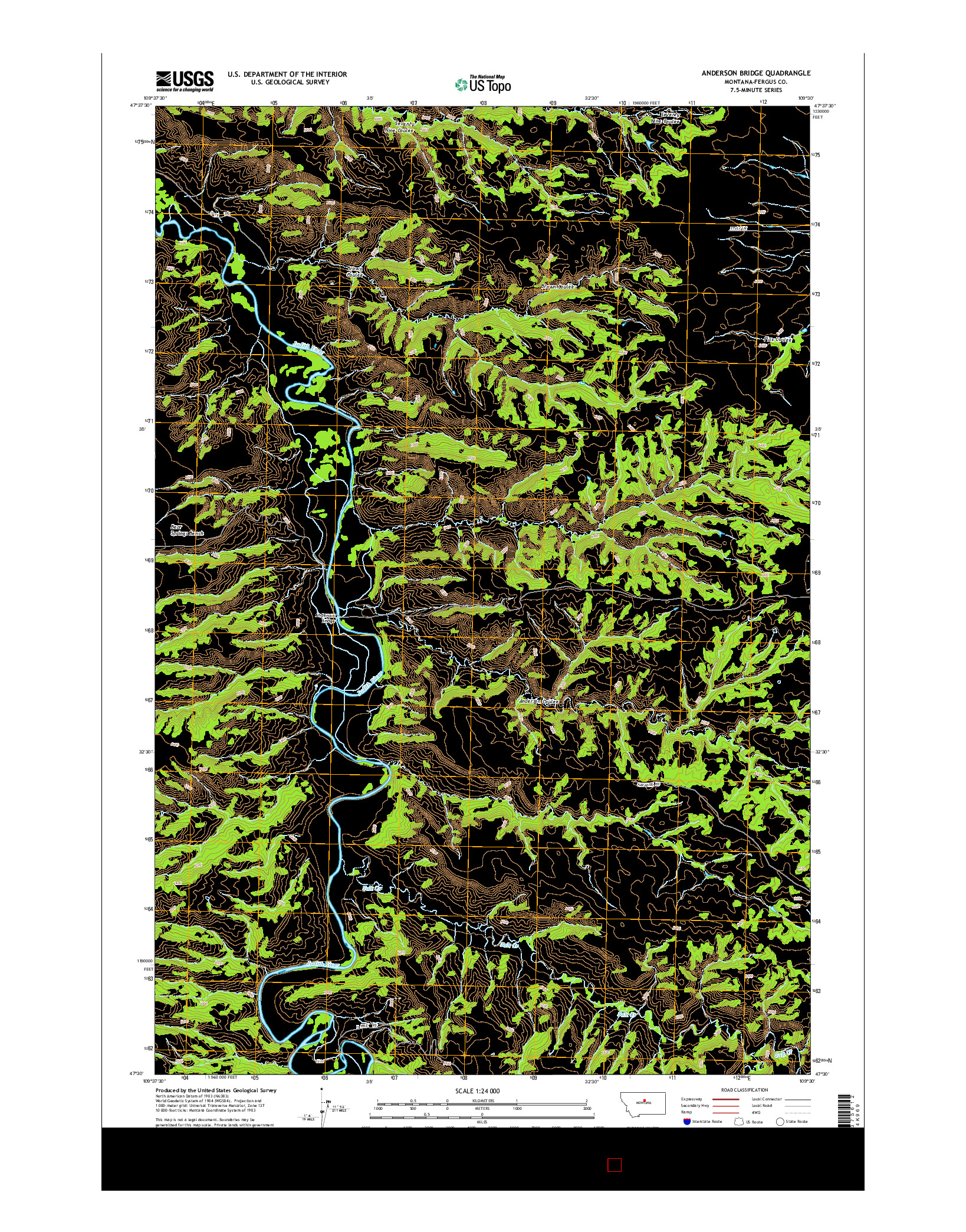 USGS US TOPO 7.5-MINUTE MAP FOR ANDERSON BRIDGE, MT 2014