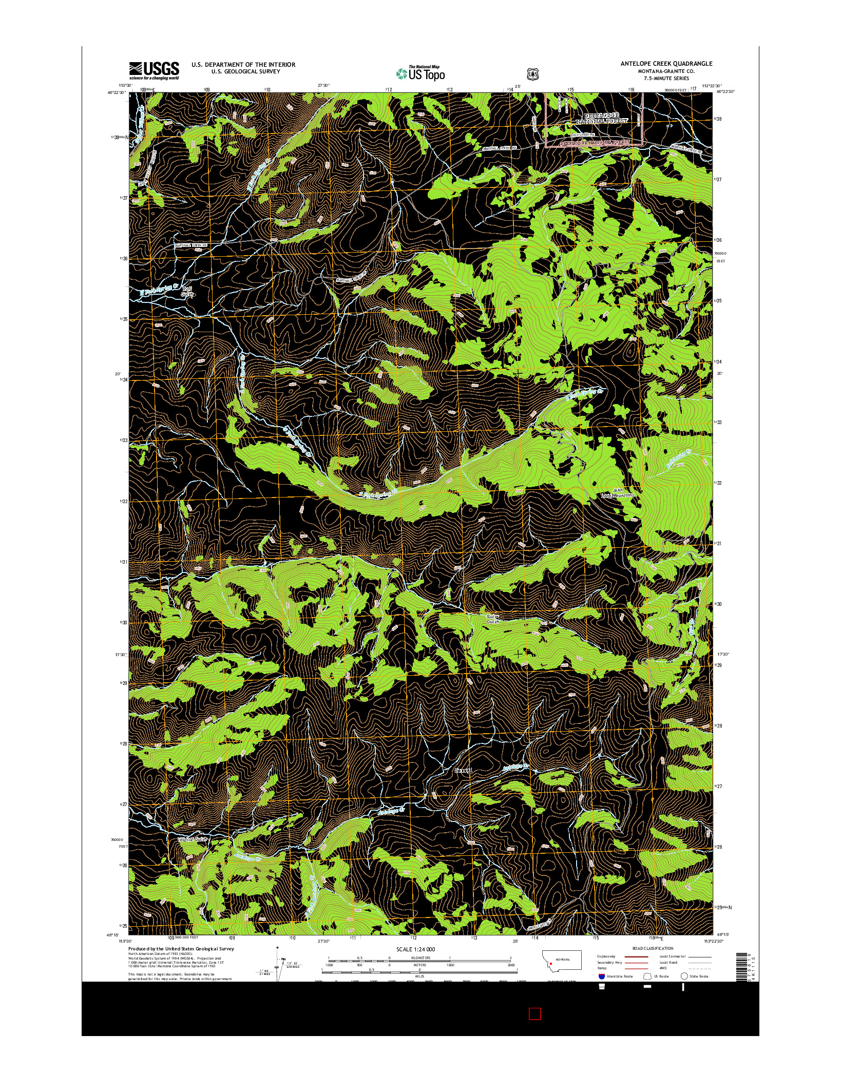 USGS US TOPO 7.5-MINUTE MAP FOR ANTELOPE CREEK, MT 2014