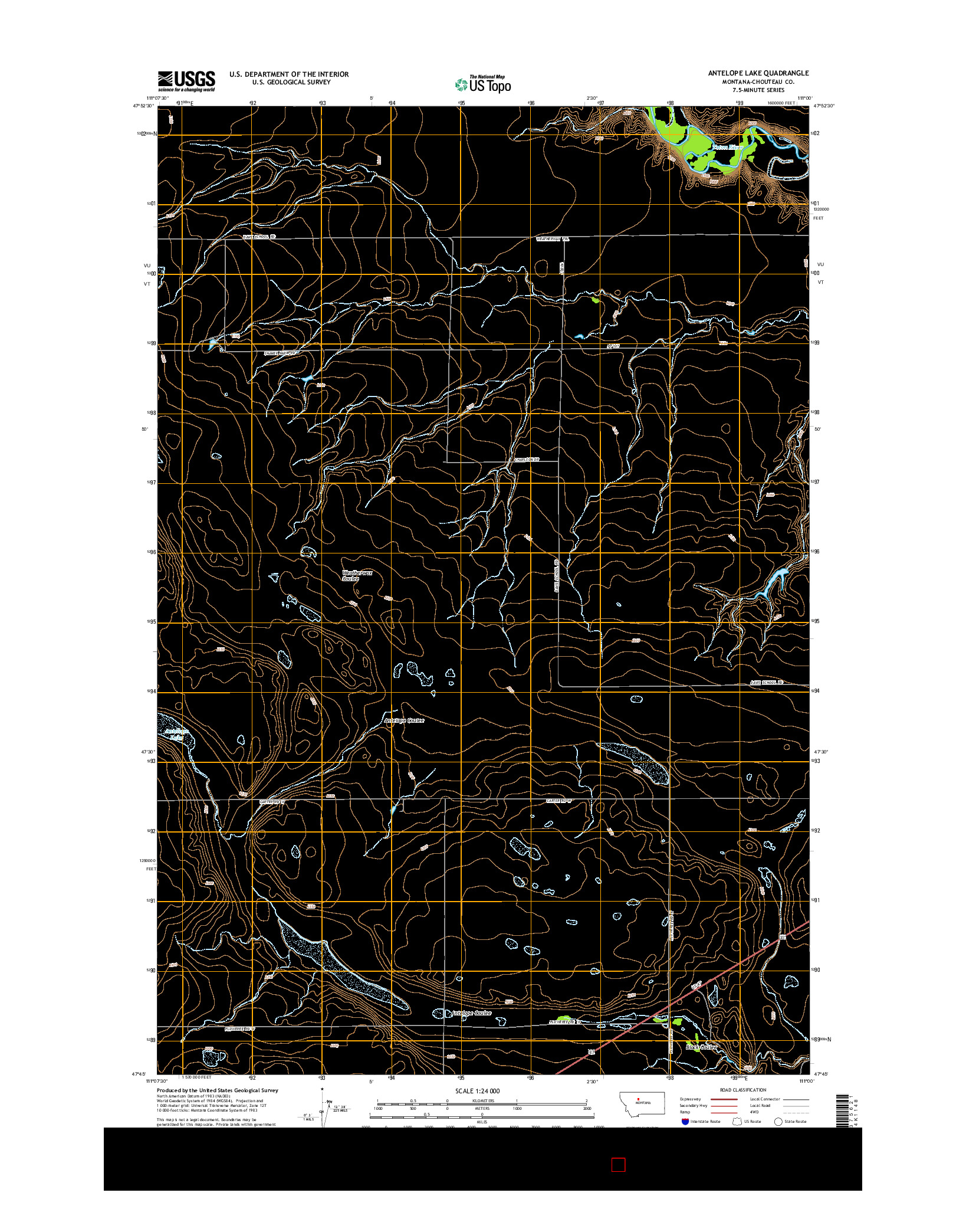 USGS US TOPO 7.5-MINUTE MAP FOR ANTELOPE LAKE, MT 2014