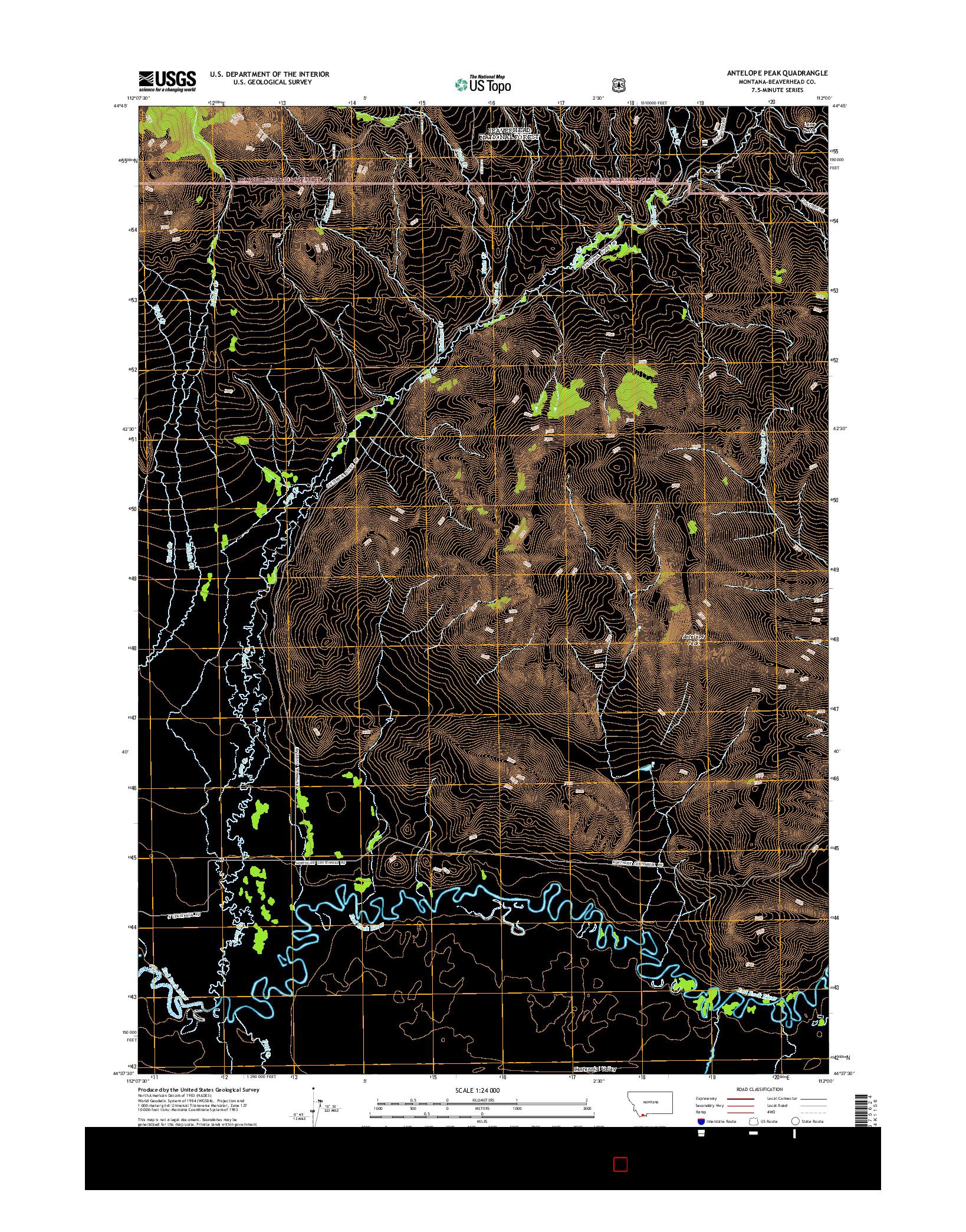 USGS US TOPO 7.5-MINUTE MAP FOR ANTELOPE PEAK, MT 2014
