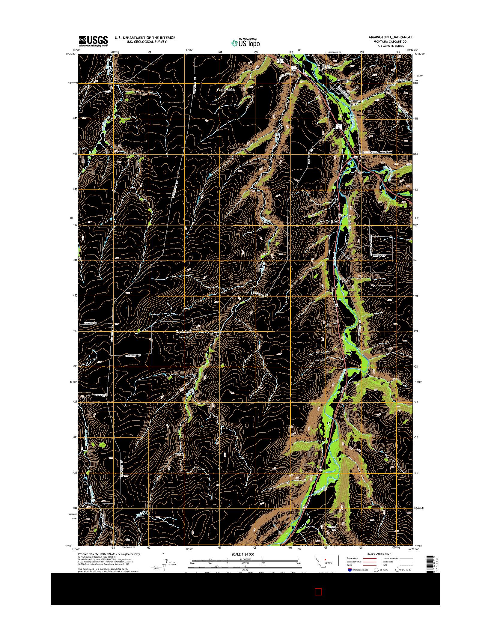 USGS US TOPO 7.5-MINUTE MAP FOR ARMINGTON, MT 2014