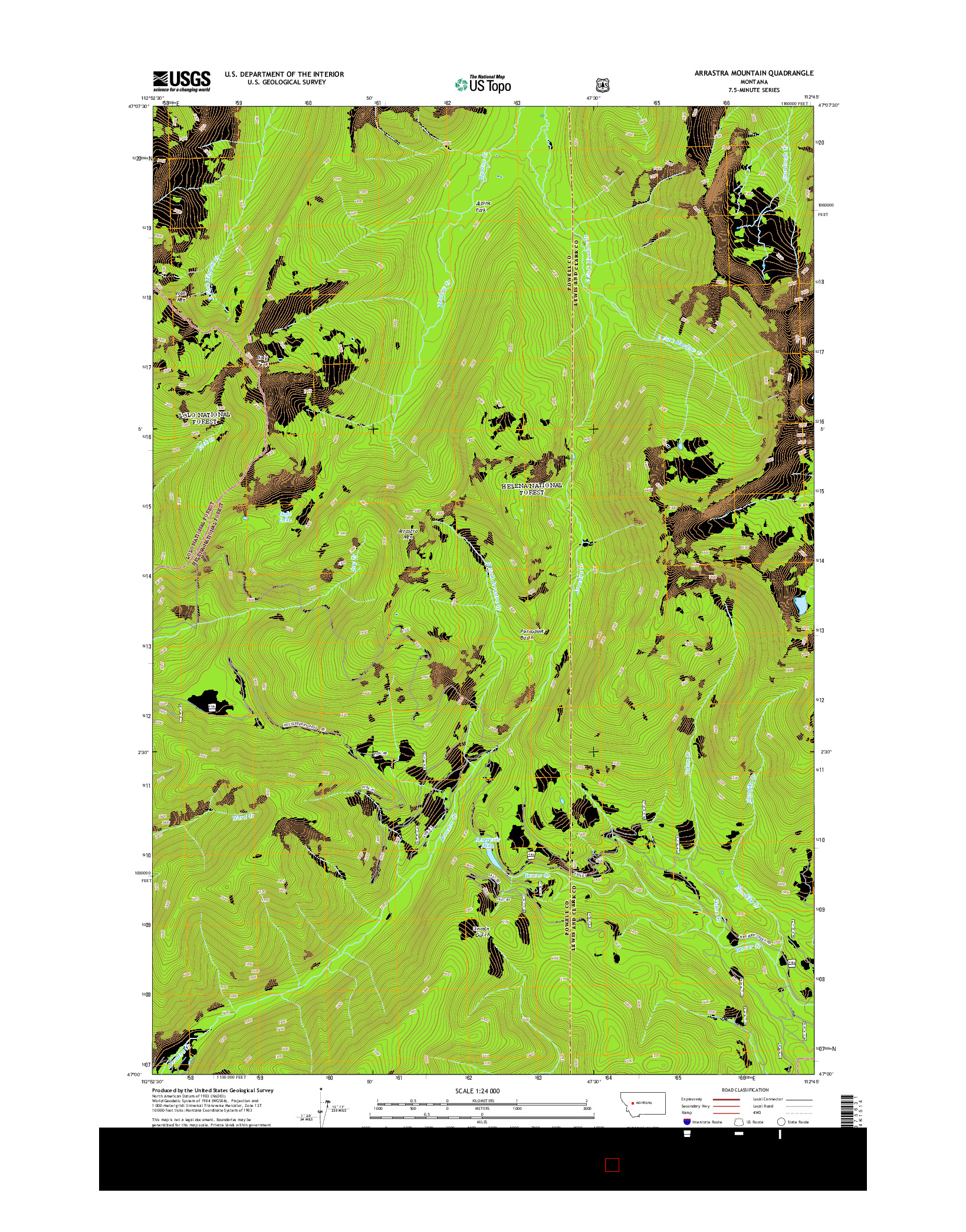 USGS US TOPO 7.5-MINUTE MAP FOR ARRASTRA MOUNTAIN, MT 2014