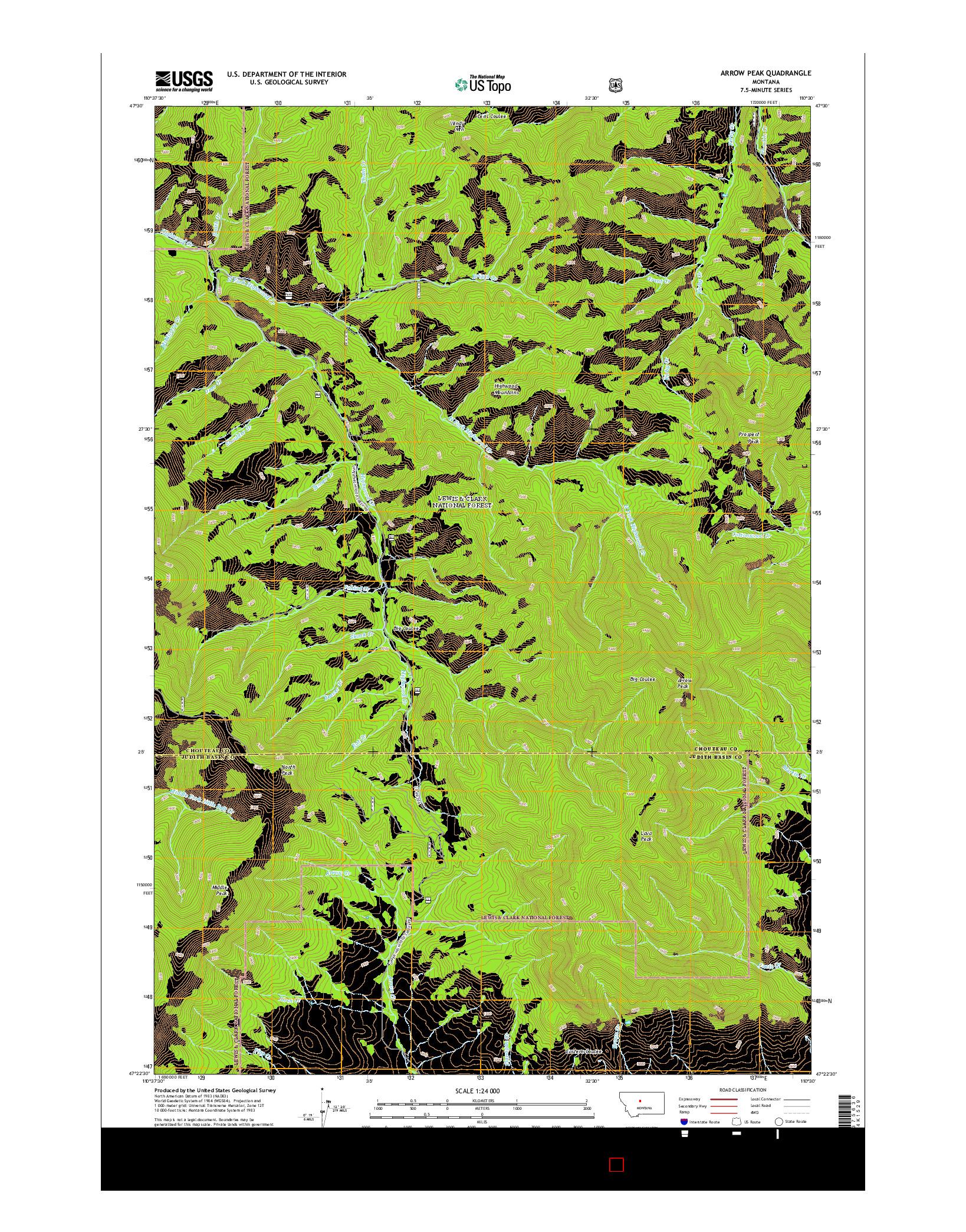 USGS US TOPO 7.5-MINUTE MAP FOR ARROW PEAK, MT 2014