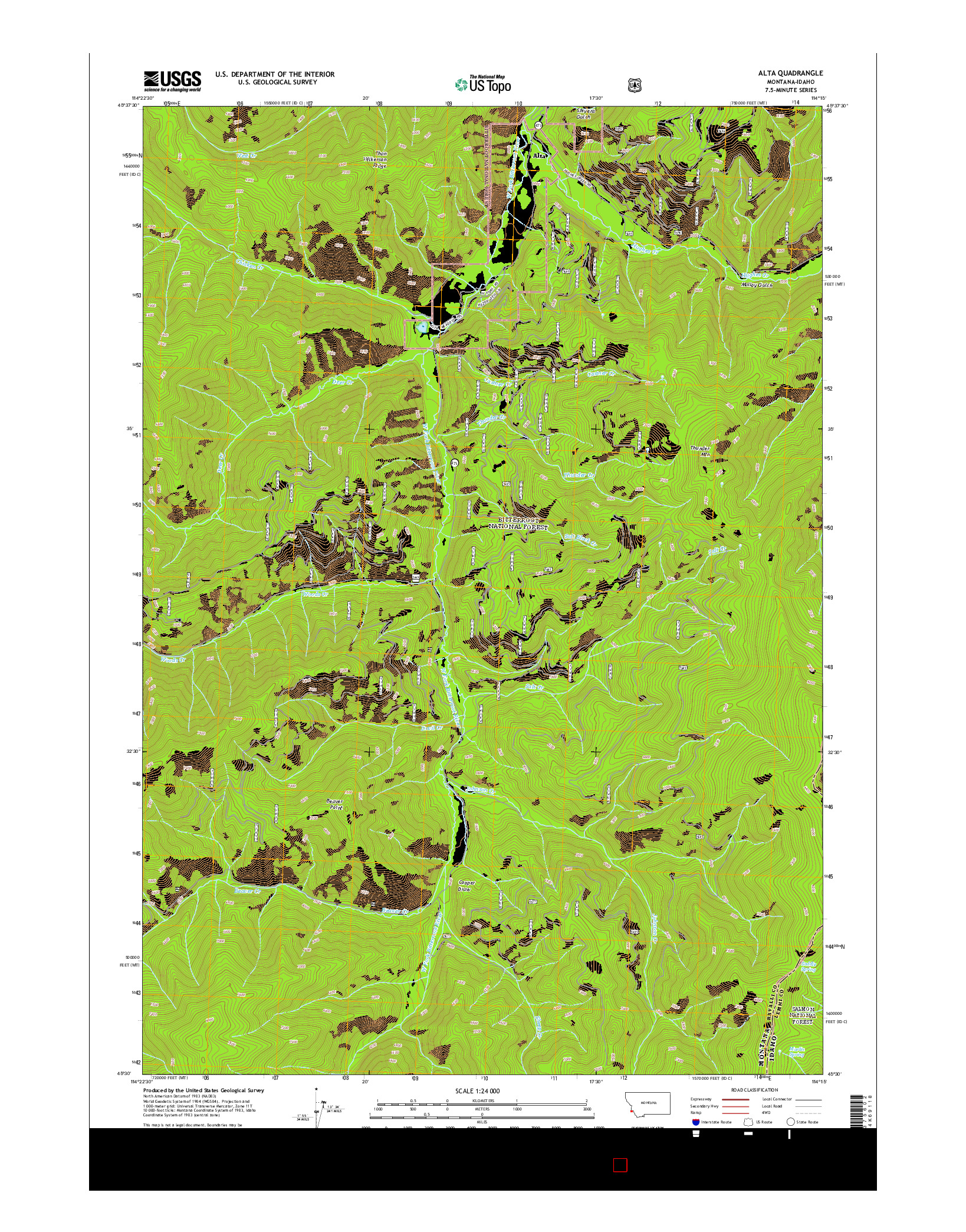 USGS US TOPO 7.5-MINUTE MAP FOR ALTA, MT-ID 2014