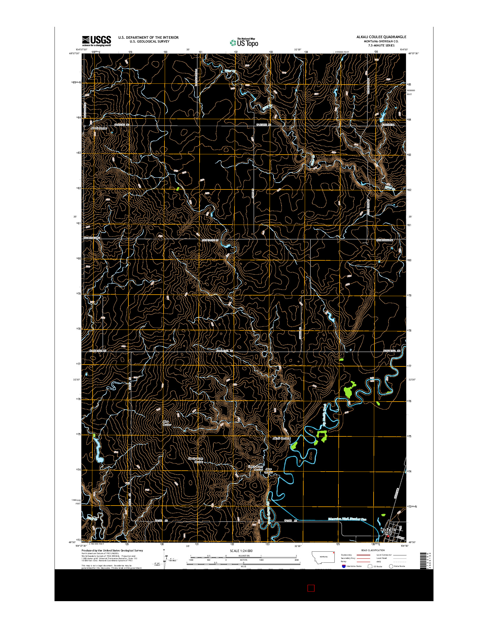 USGS US TOPO 7.5-MINUTE MAP FOR ALKALI COULEE, MT 2014