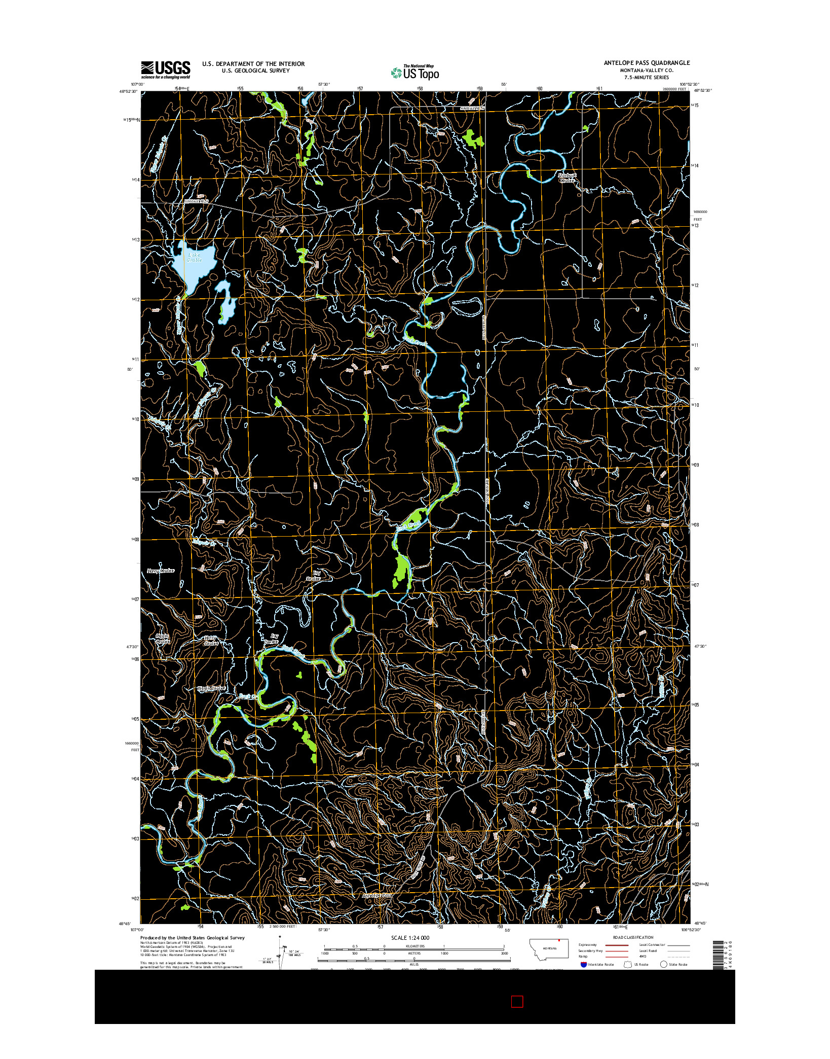 USGS US TOPO 7.5-MINUTE MAP FOR ANTELOPE PASS, MT 2014