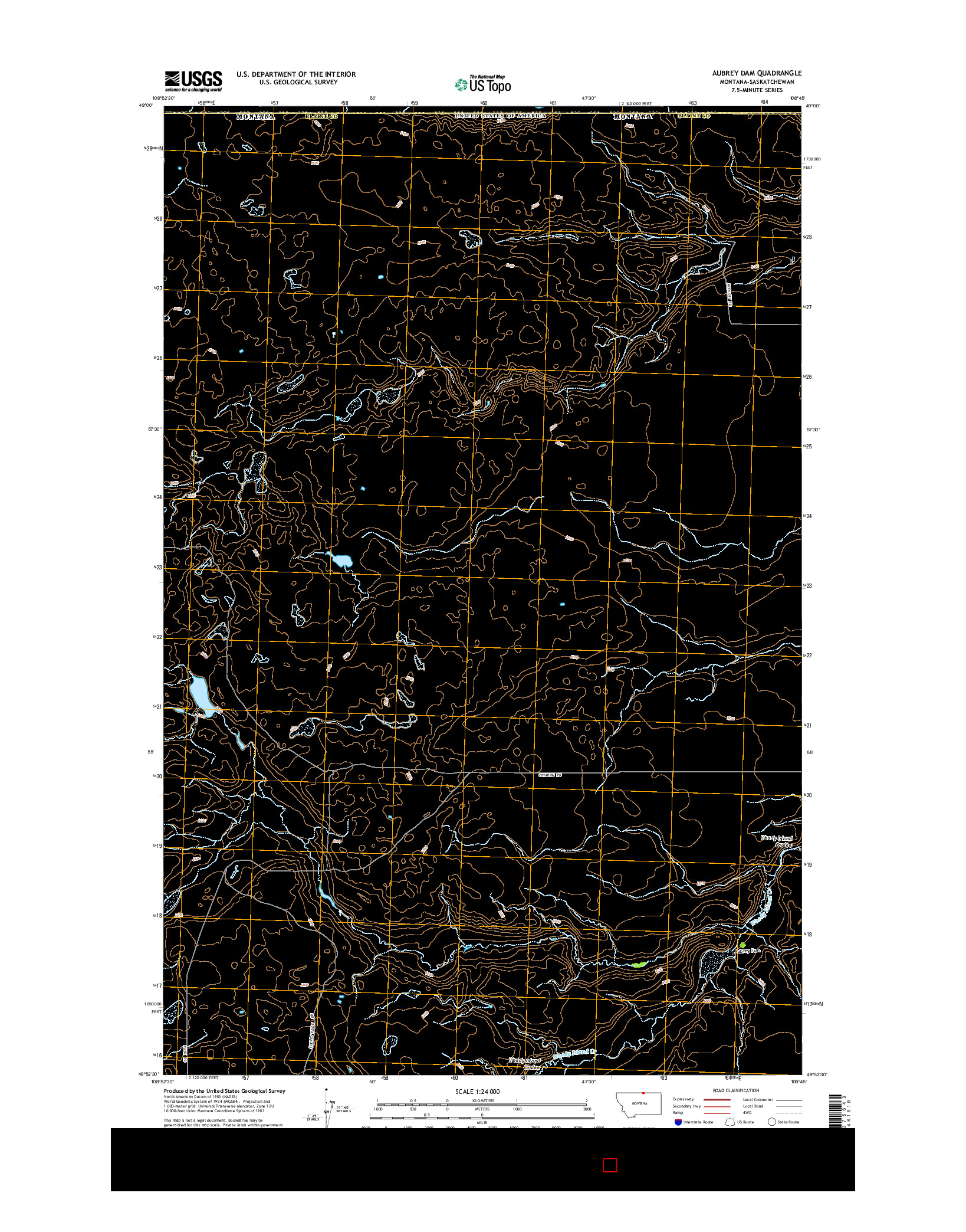 USGS US TOPO 7.5-MINUTE MAP FOR AUBREY DAM, MT-SK 2014