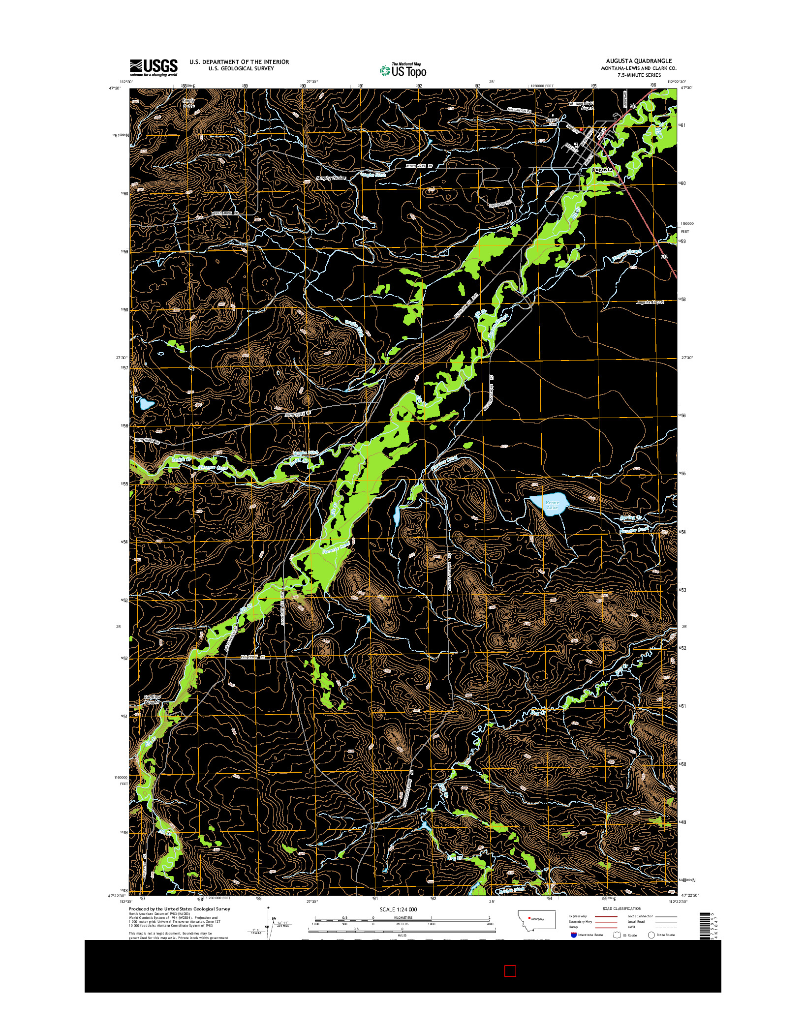USGS US TOPO 7.5-MINUTE MAP FOR AUGUSTA, MT 2014