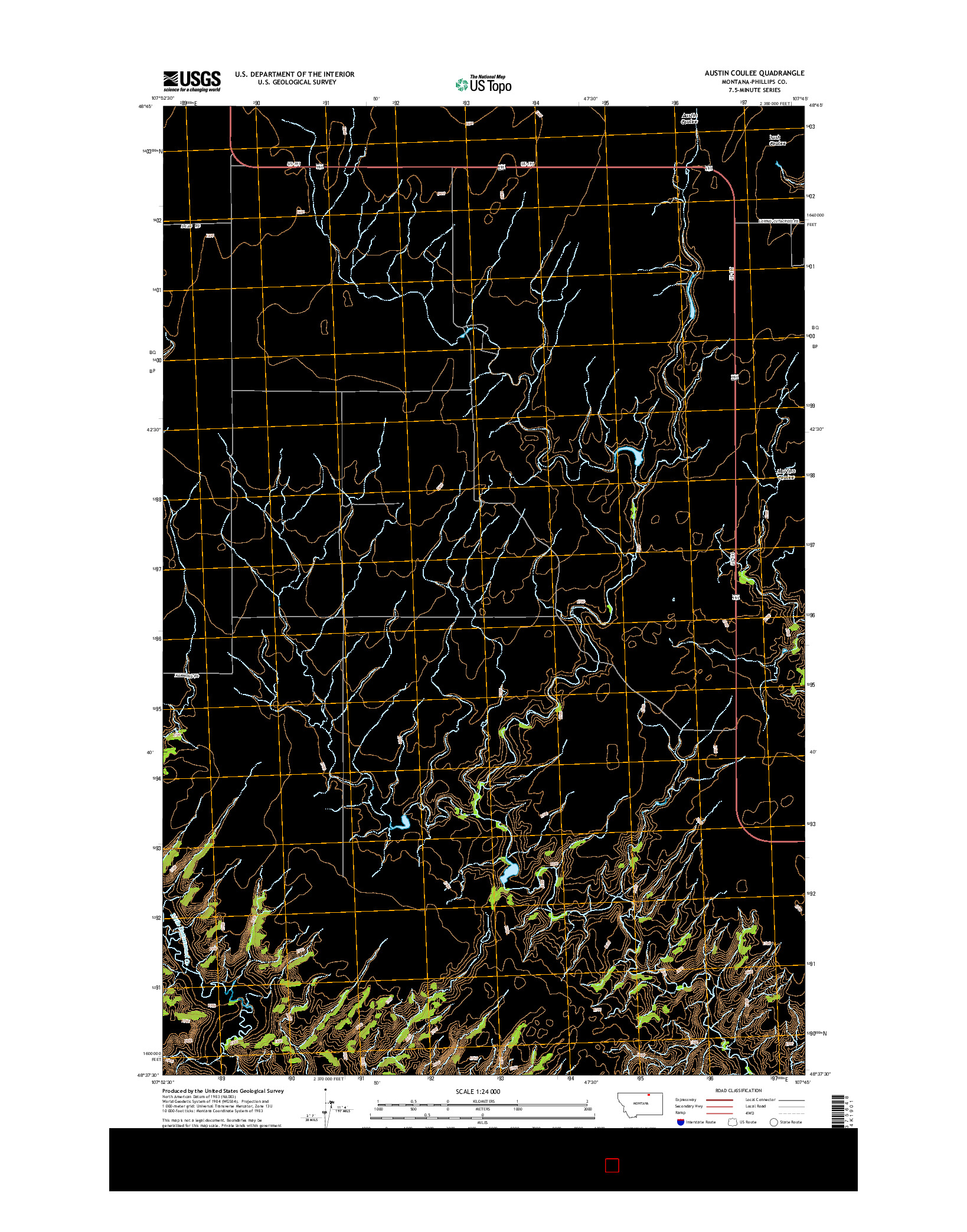 USGS US TOPO 7.5-MINUTE MAP FOR AUSTIN COULEE, MT 2014