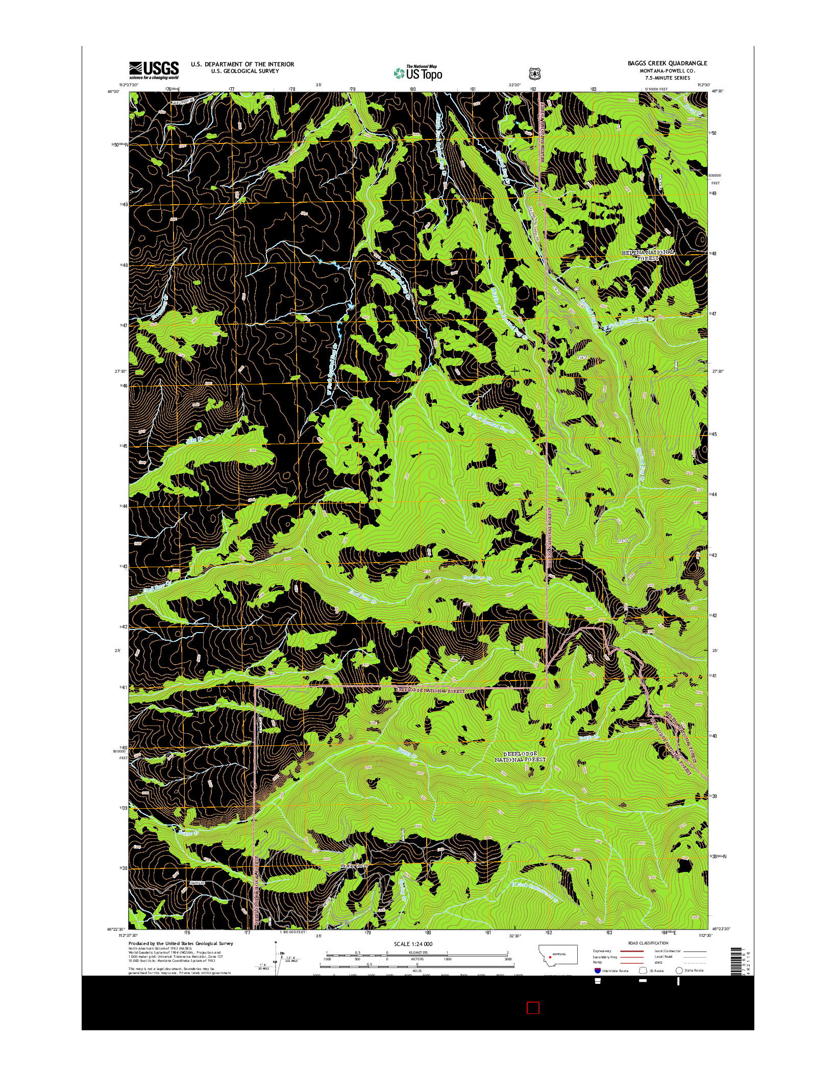 USGS US TOPO 7.5-MINUTE MAP FOR BAGGS CREEK, MT 2014