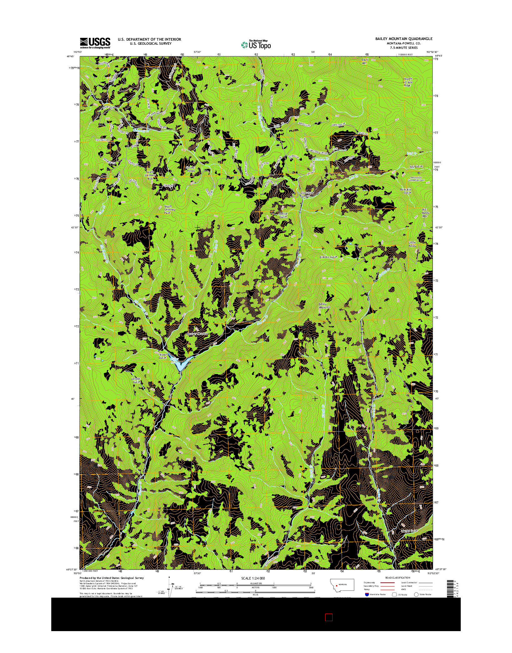 USGS US TOPO 7.5-MINUTE MAP FOR BAILEY MOUNTAIN, MT 2014