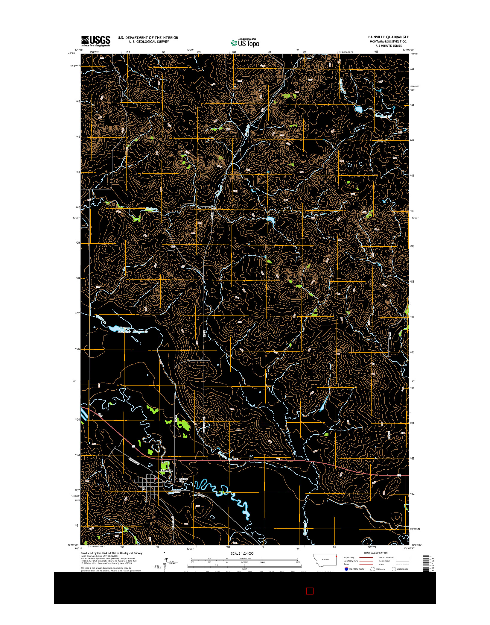 USGS US TOPO 7.5-MINUTE MAP FOR BAINVILLE, MT 2014