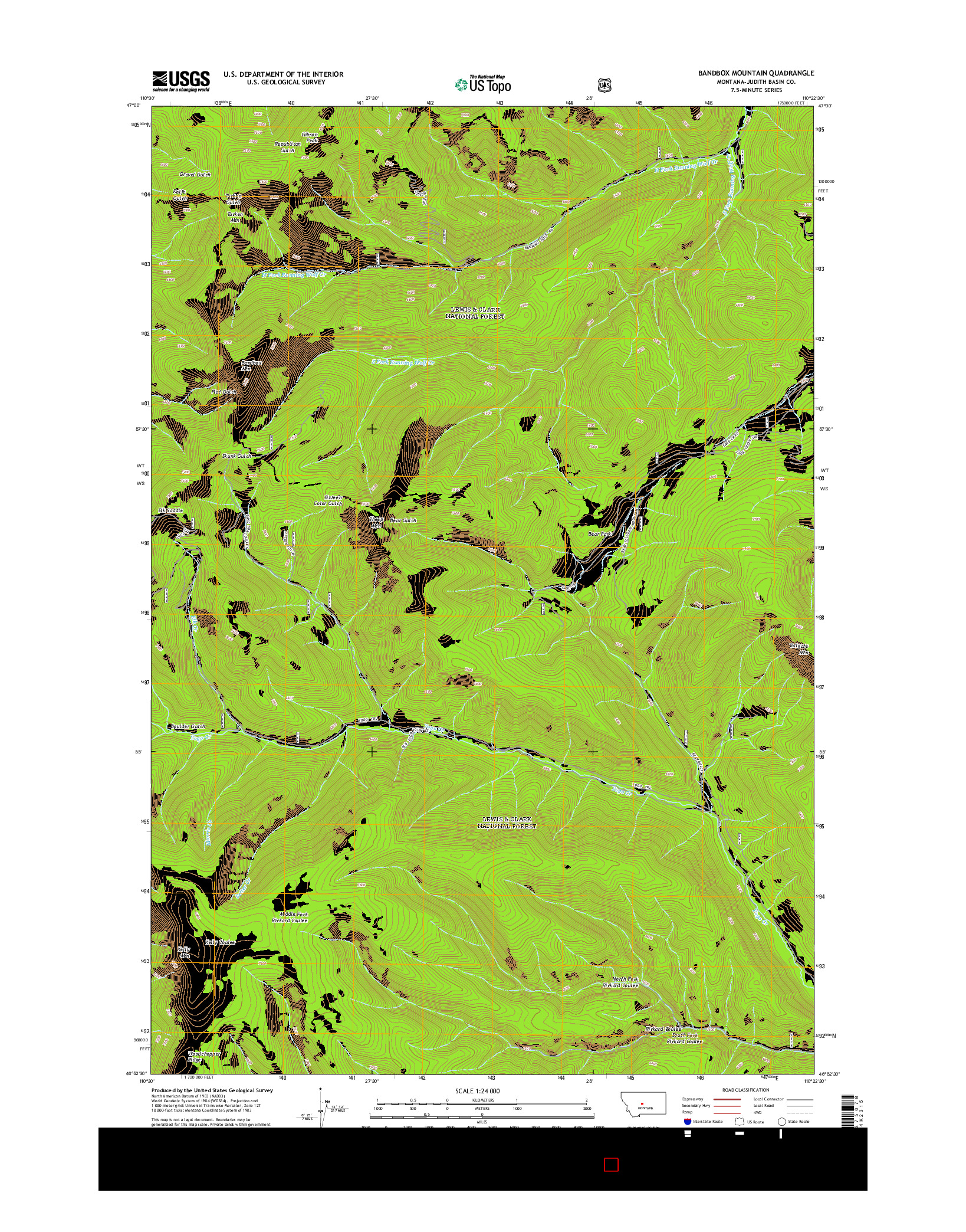 USGS US TOPO 7.5-MINUTE MAP FOR BANDBOX MOUNTAIN, MT 2014