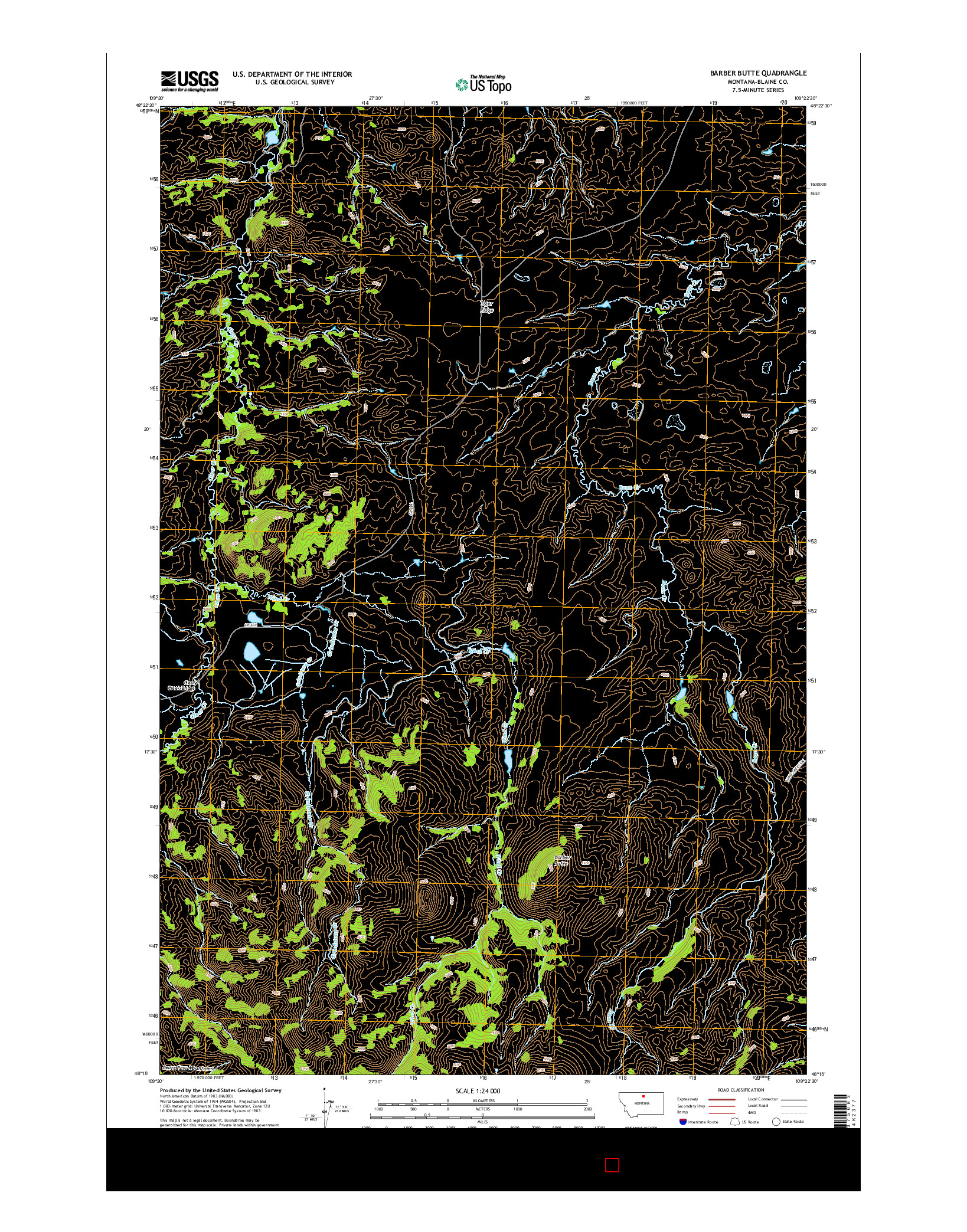 USGS US TOPO 7.5-MINUTE MAP FOR BARBER BUTTE, MT 2014