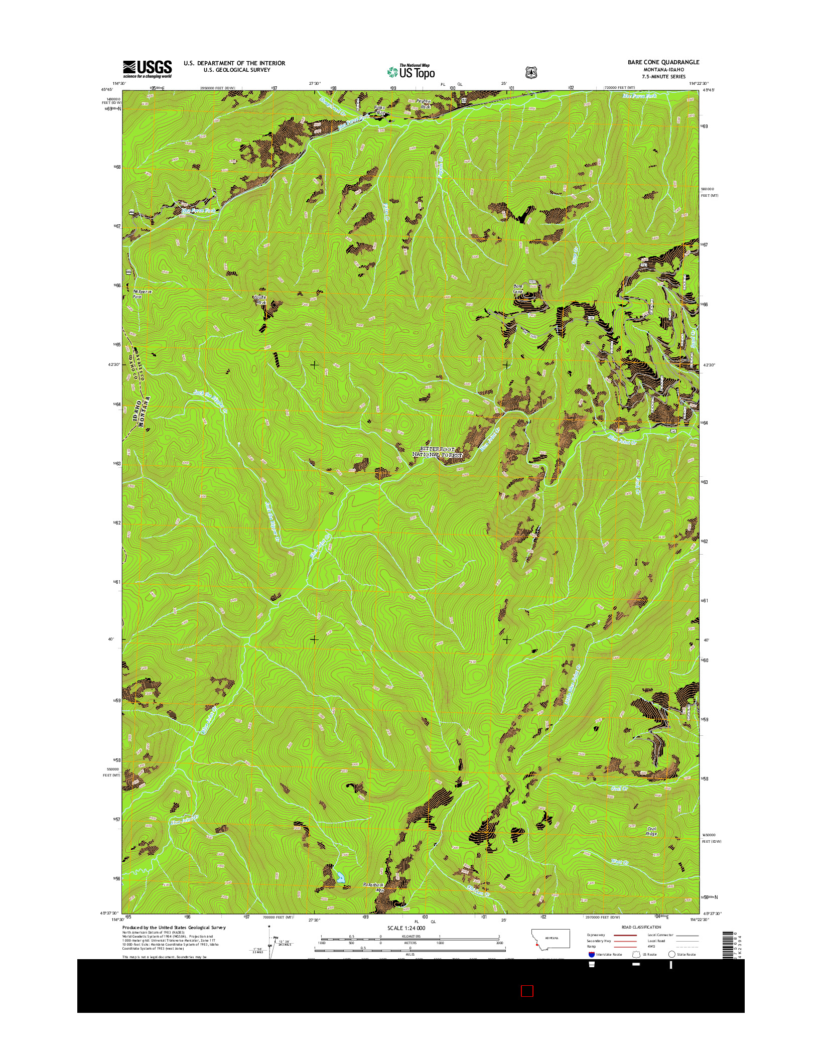 USGS US TOPO 7.5-MINUTE MAP FOR BARE CONE, MT-ID 2014