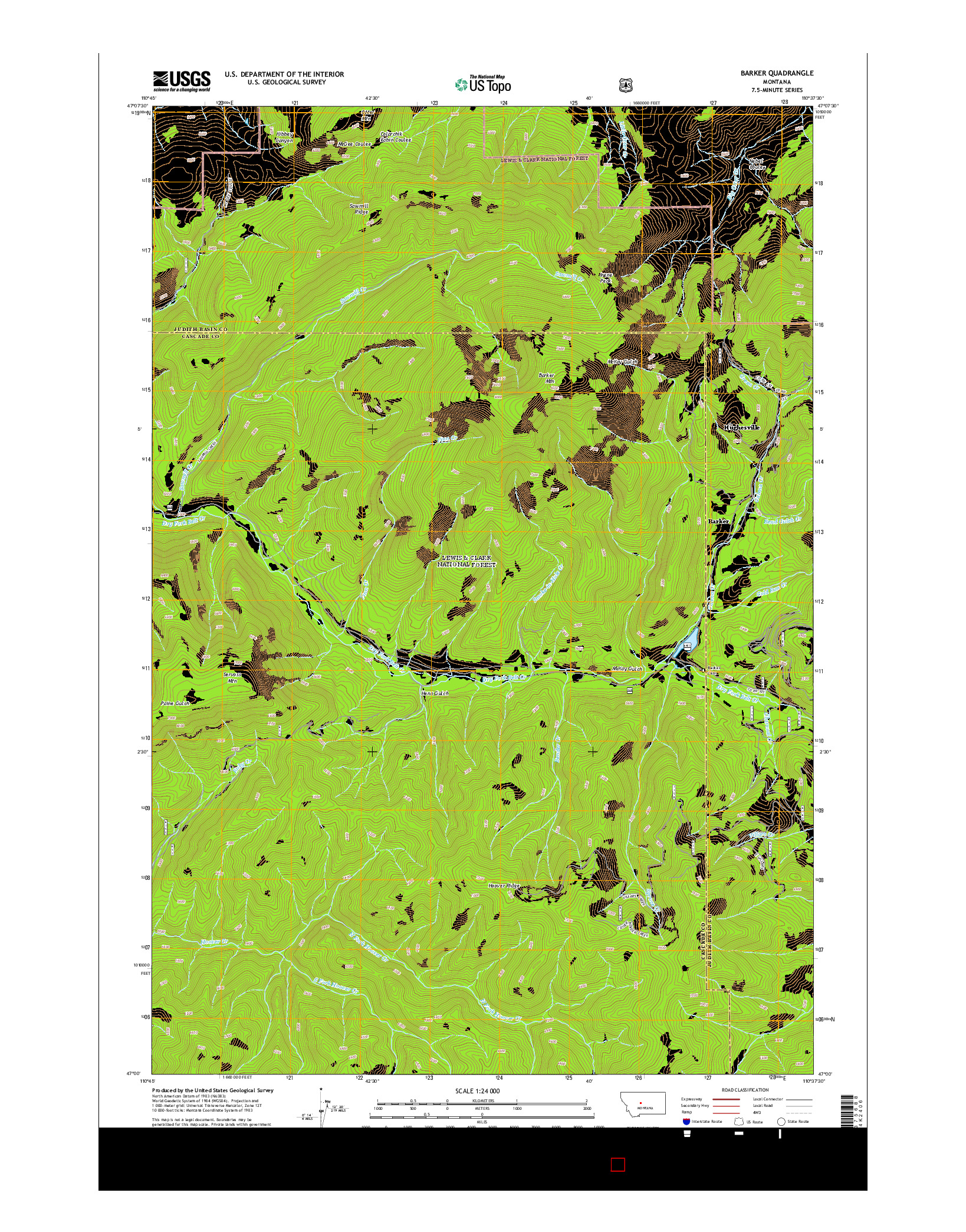 USGS US TOPO 7.5-MINUTE MAP FOR BARKER, MT 2014