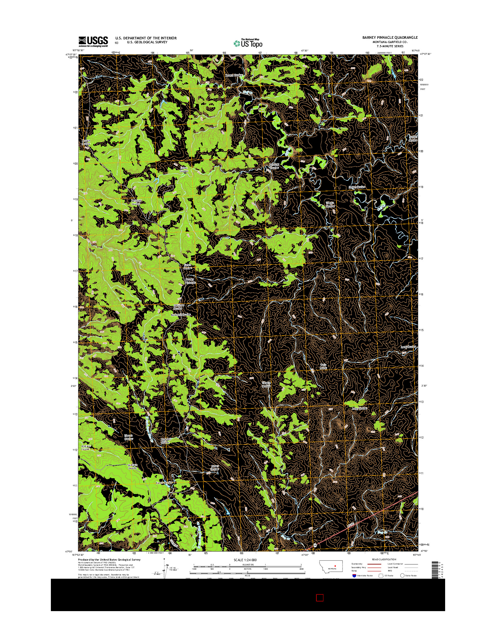 USGS US TOPO 7.5-MINUTE MAP FOR BARNEY PINNACLE, MT 2014