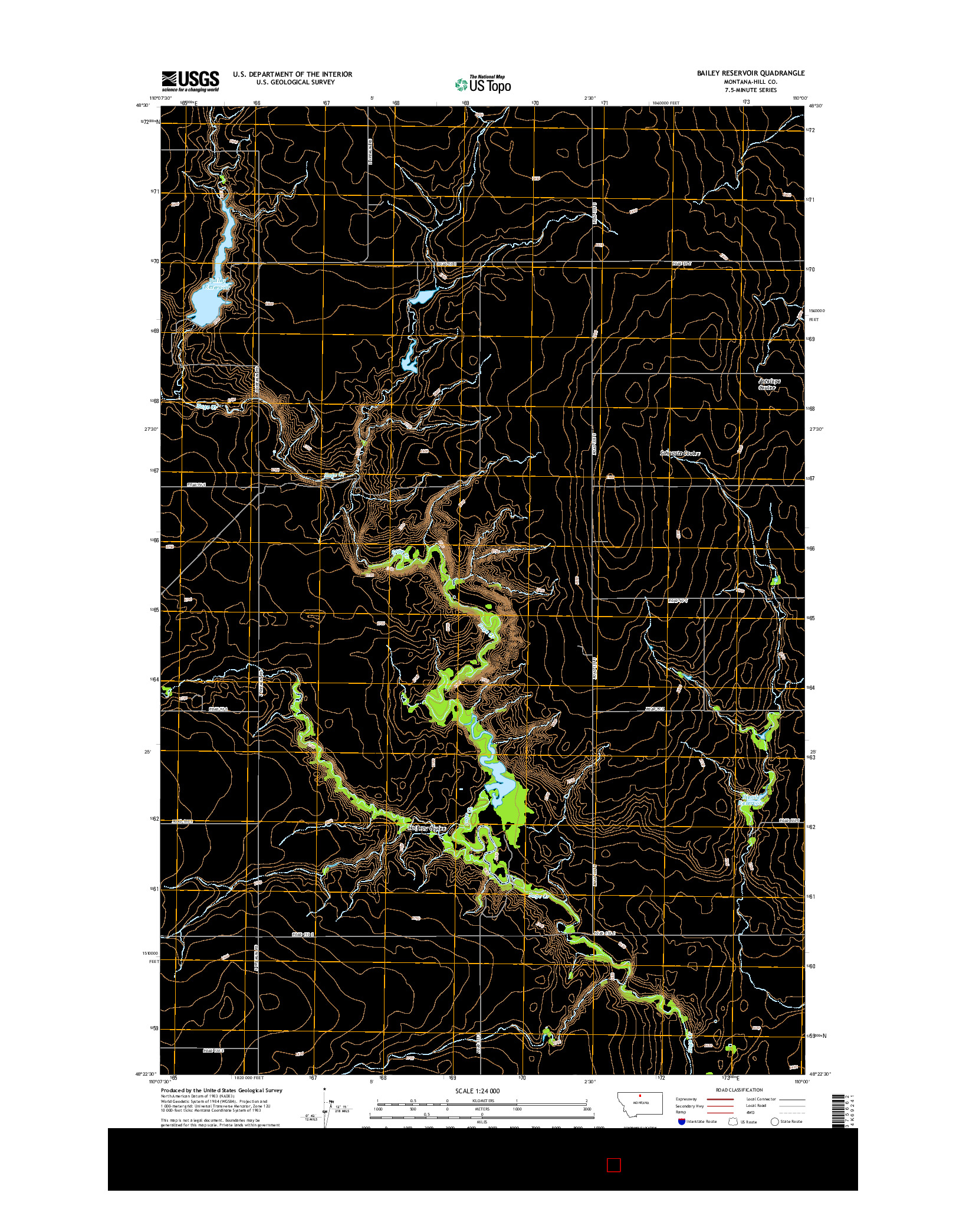 USGS US TOPO 7.5-MINUTE MAP FOR BAILEY RESERVOIR, MT 2014