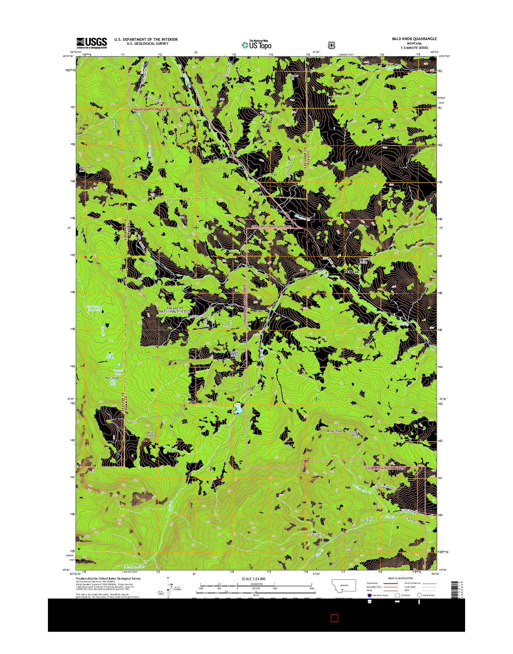 USGS US TOPO 7.5-MINUTE MAP FOR BALD KNOB, MT 2014