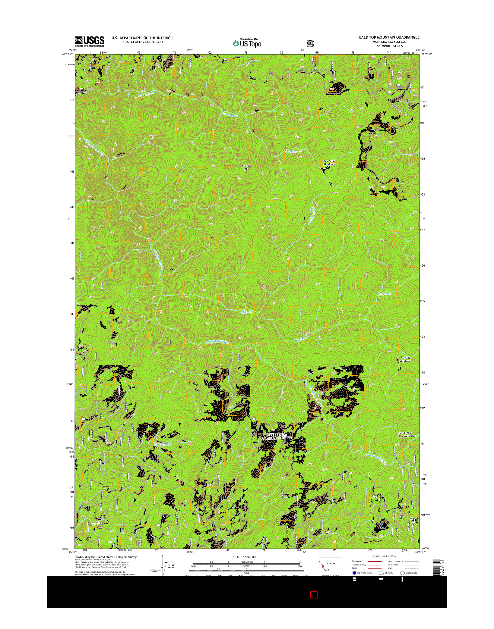 USGS US TOPO 7.5-MINUTE MAP FOR BALD TOP MOUNTAIN, MT 2014