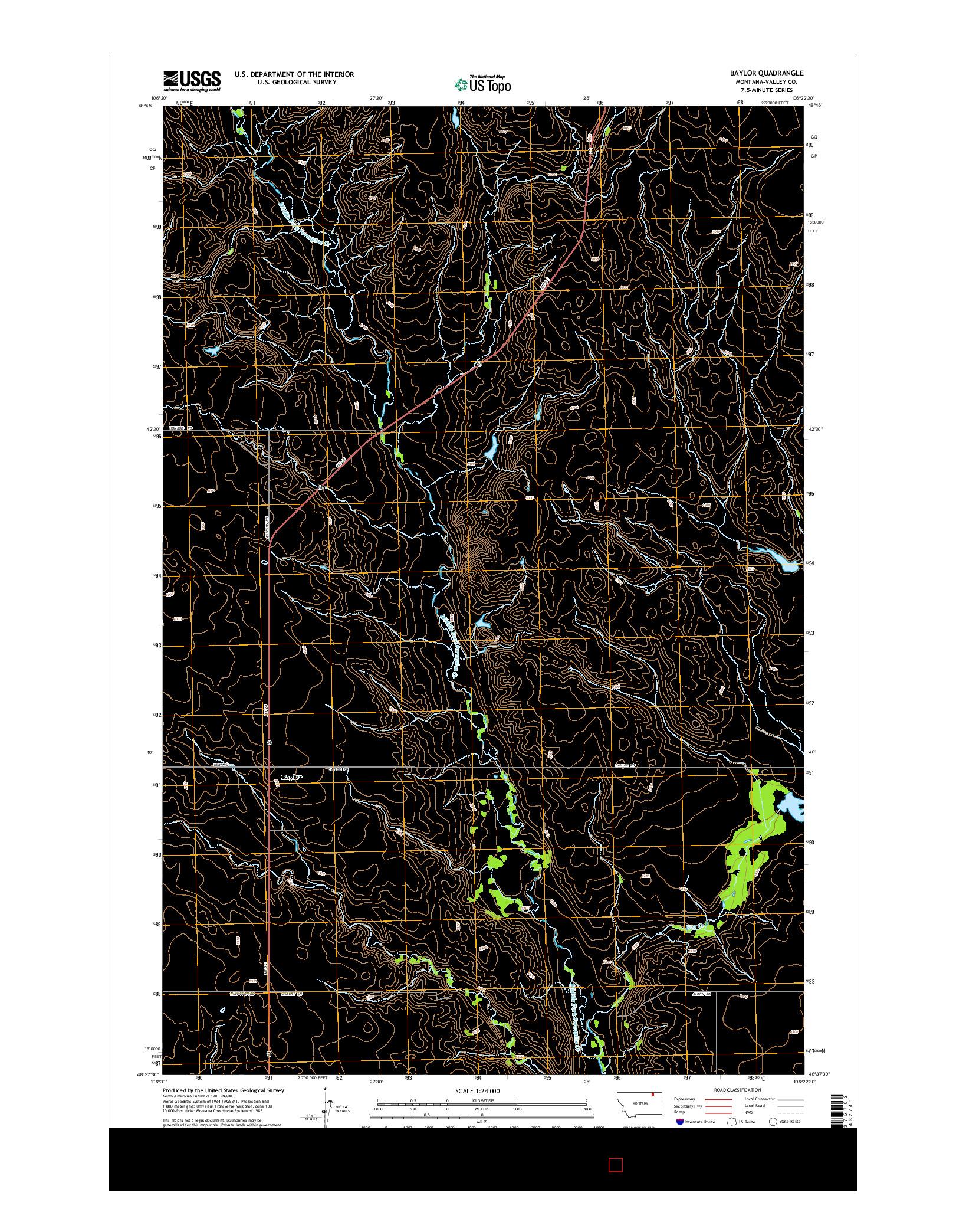 USGS US TOPO 7.5-MINUTE MAP FOR BAYLOR, MT 2014