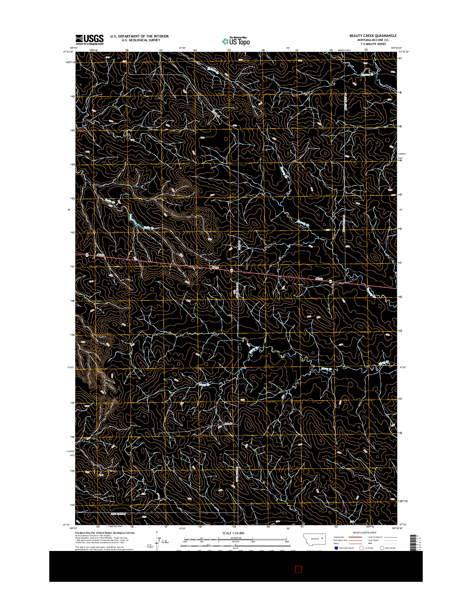 USGS US TOPO 7.5-MINUTE MAP FOR BEAUTY CREEK, MT 2014