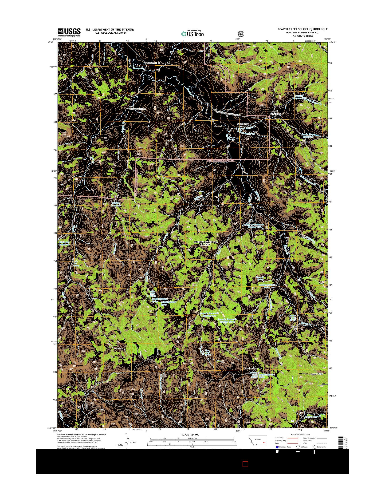 USGS US TOPO 7.5-MINUTE MAP FOR BEAVER CREEK SCHOOL, MT 2014