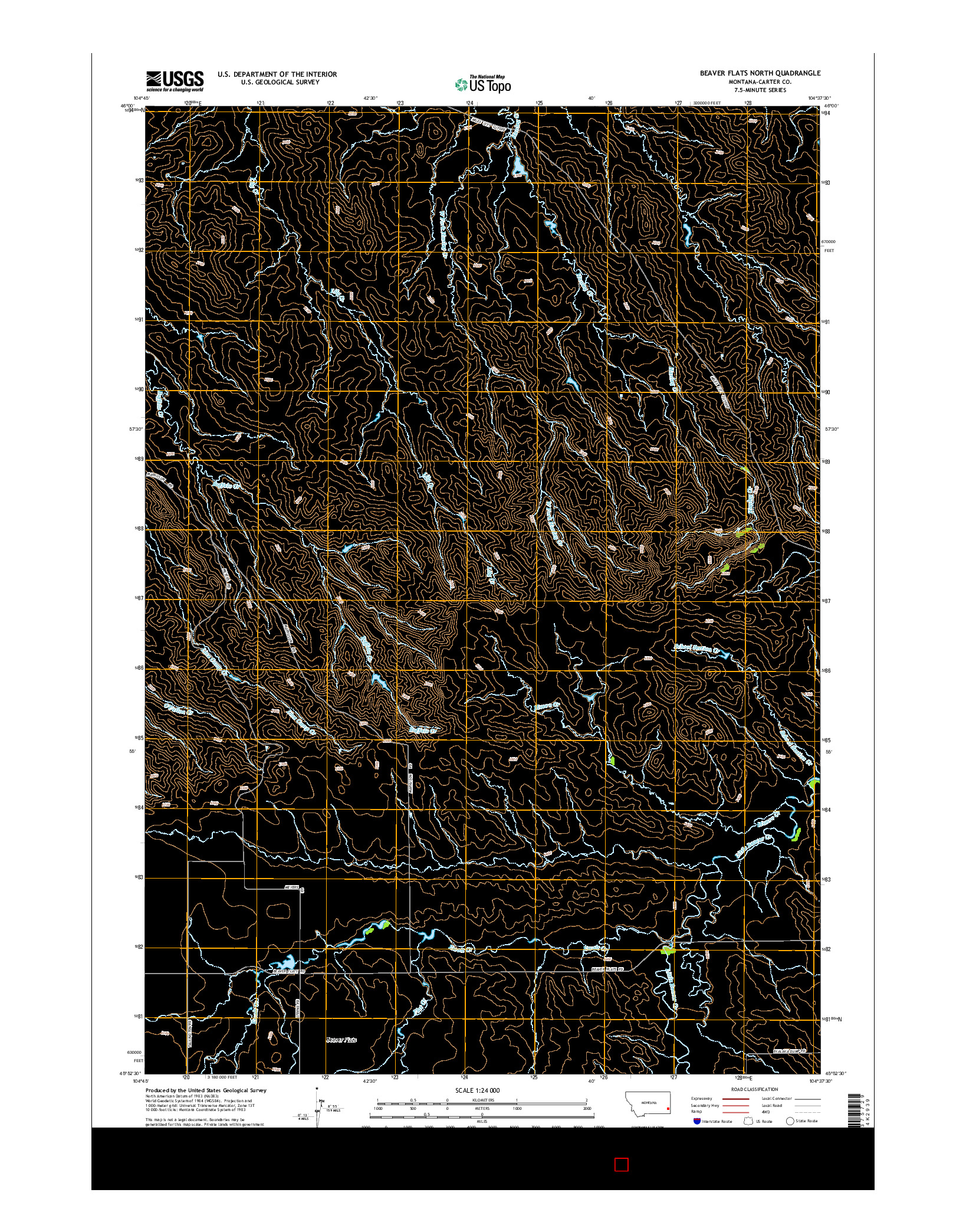 USGS US TOPO 7.5-MINUTE MAP FOR BEAVER FLATS NORTH, MT 2014