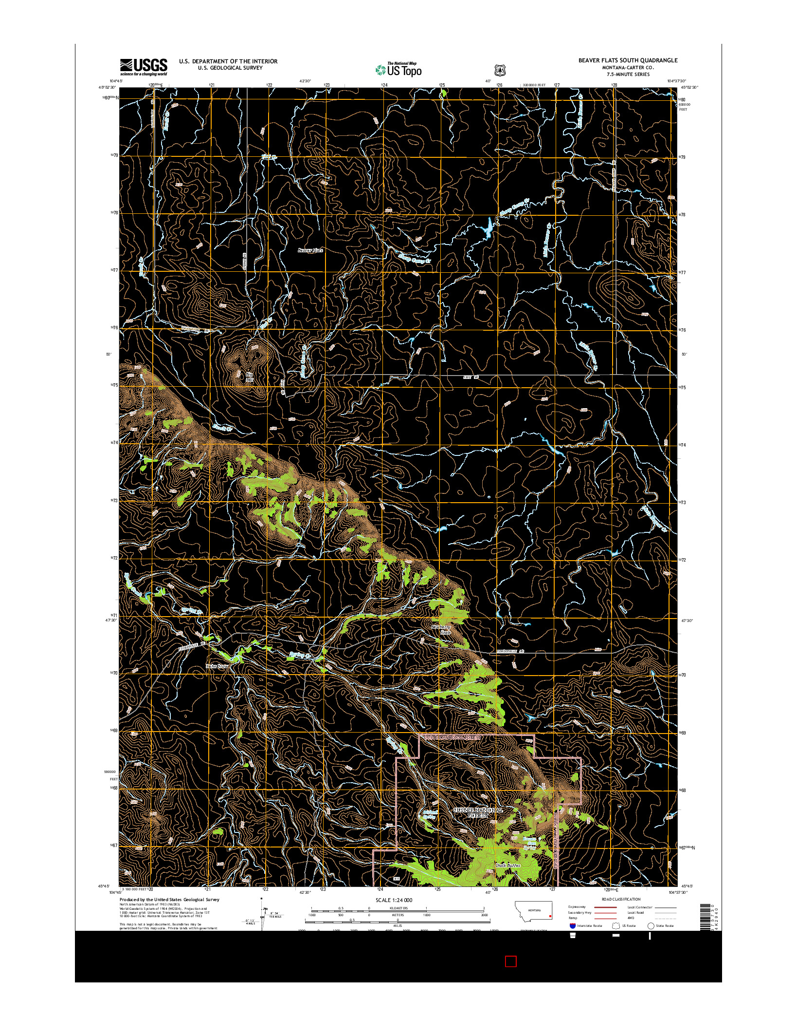 USGS US TOPO 7.5-MINUTE MAP FOR BEAVER FLATS SOUTH, MT 2014