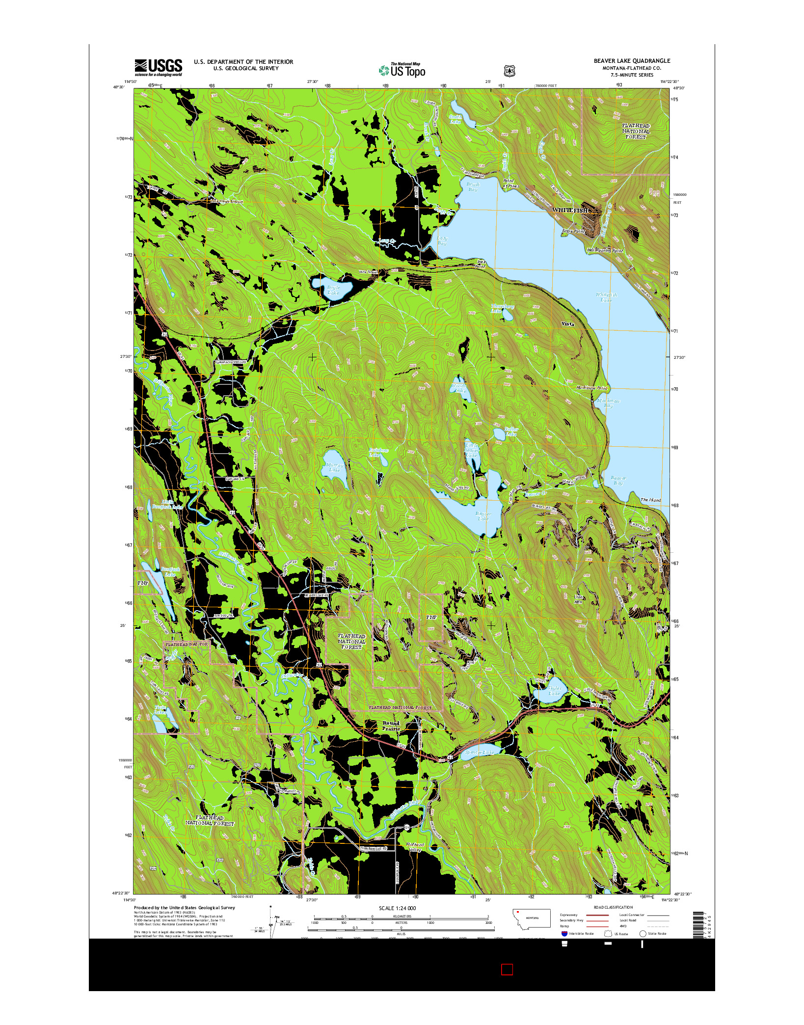 USGS US TOPO 7.5-MINUTE MAP FOR BEAVER LAKE, MT 2014