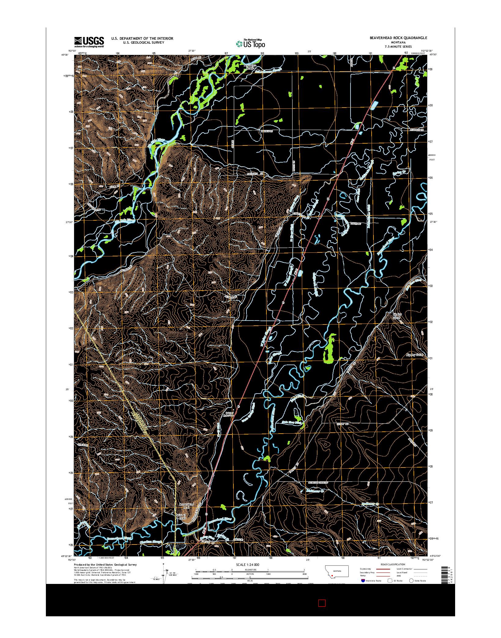 USGS US TOPO 7.5-MINUTE MAP FOR BEAVERHEAD ROCK, MT 2014