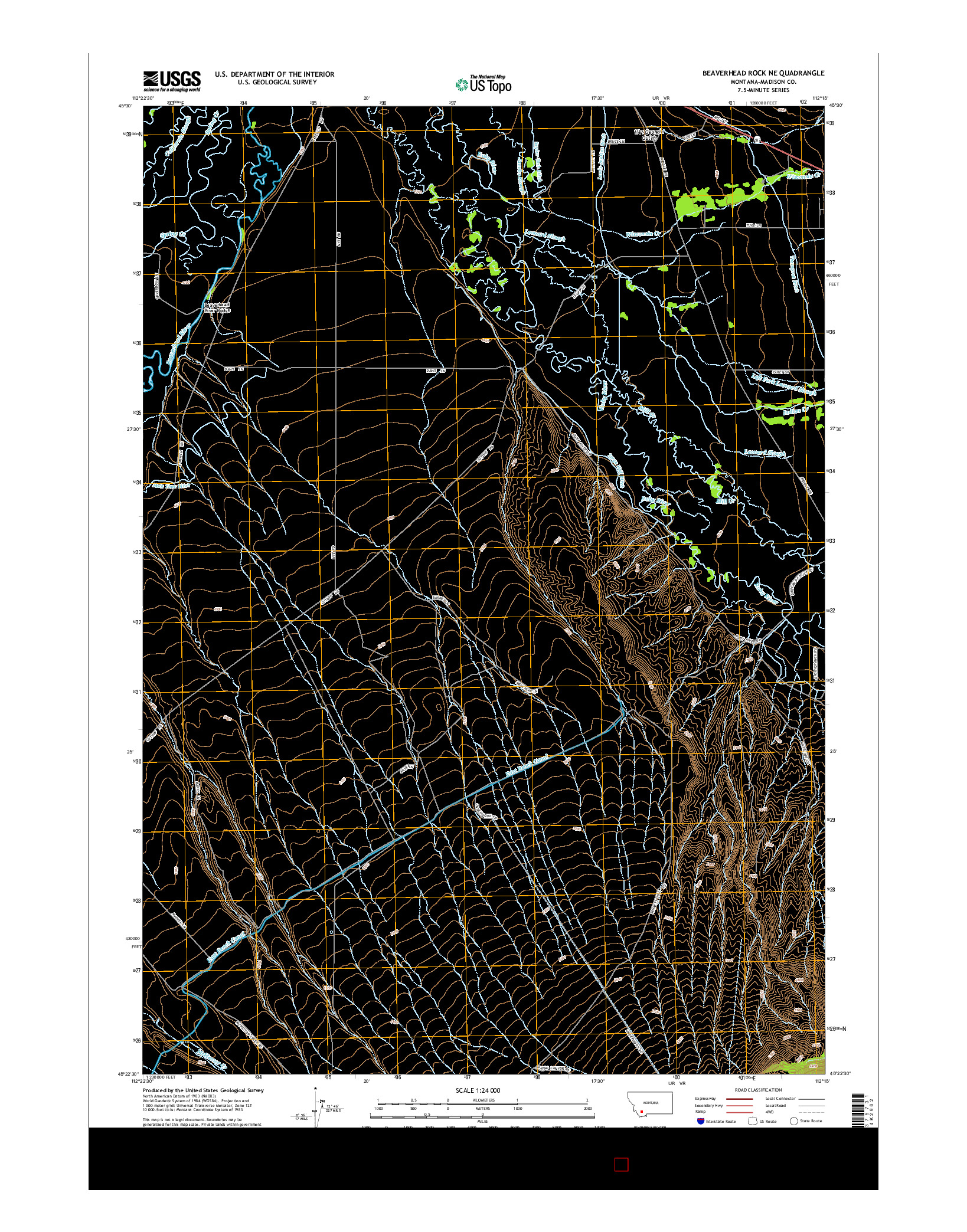 USGS US TOPO 7.5-MINUTE MAP FOR BEAVERHEAD ROCK NE, MT 2014