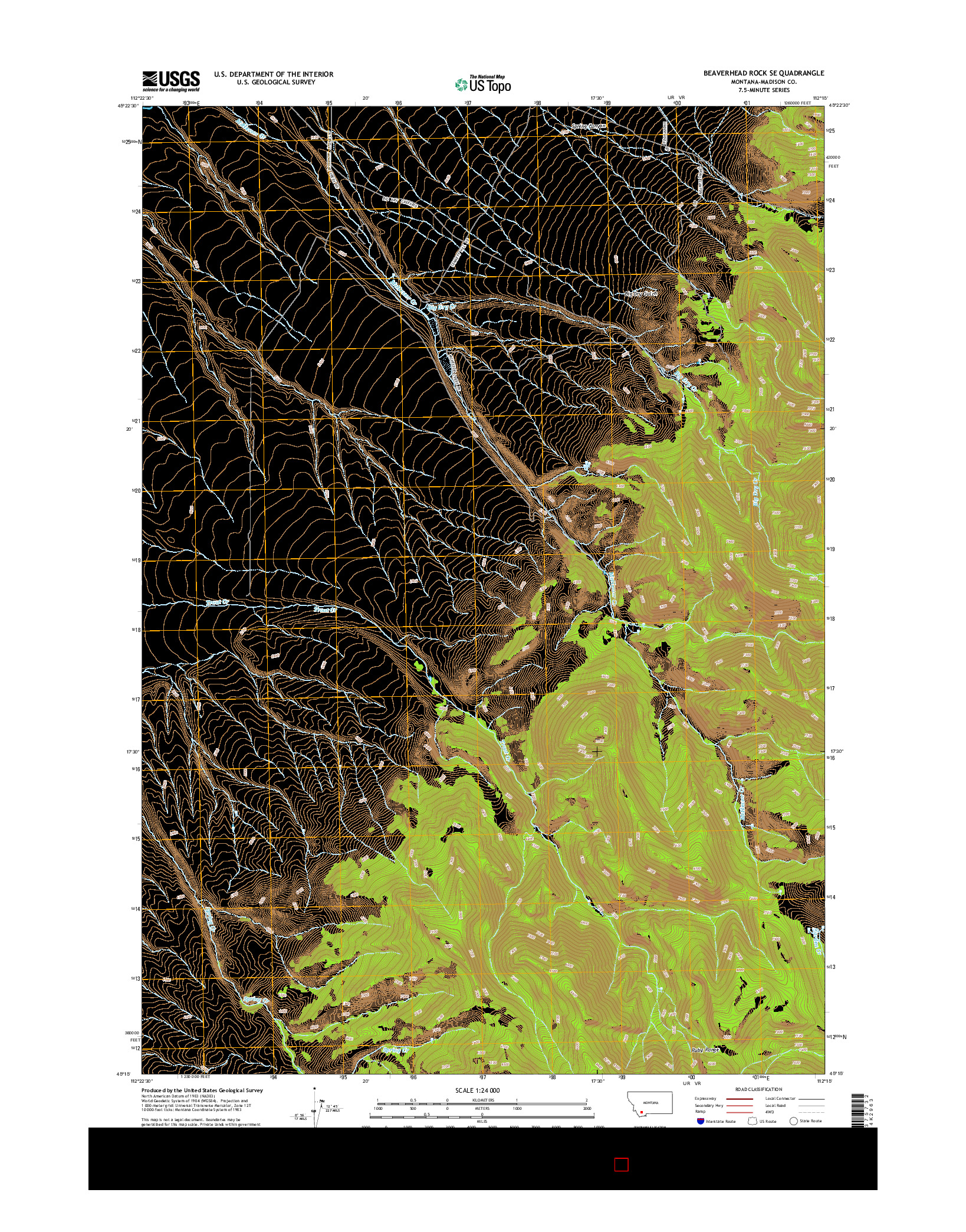 USGS US TOPO 7.5-MINUTE MAP FOR BEAVERHEAD ROCK SE, MT 2014