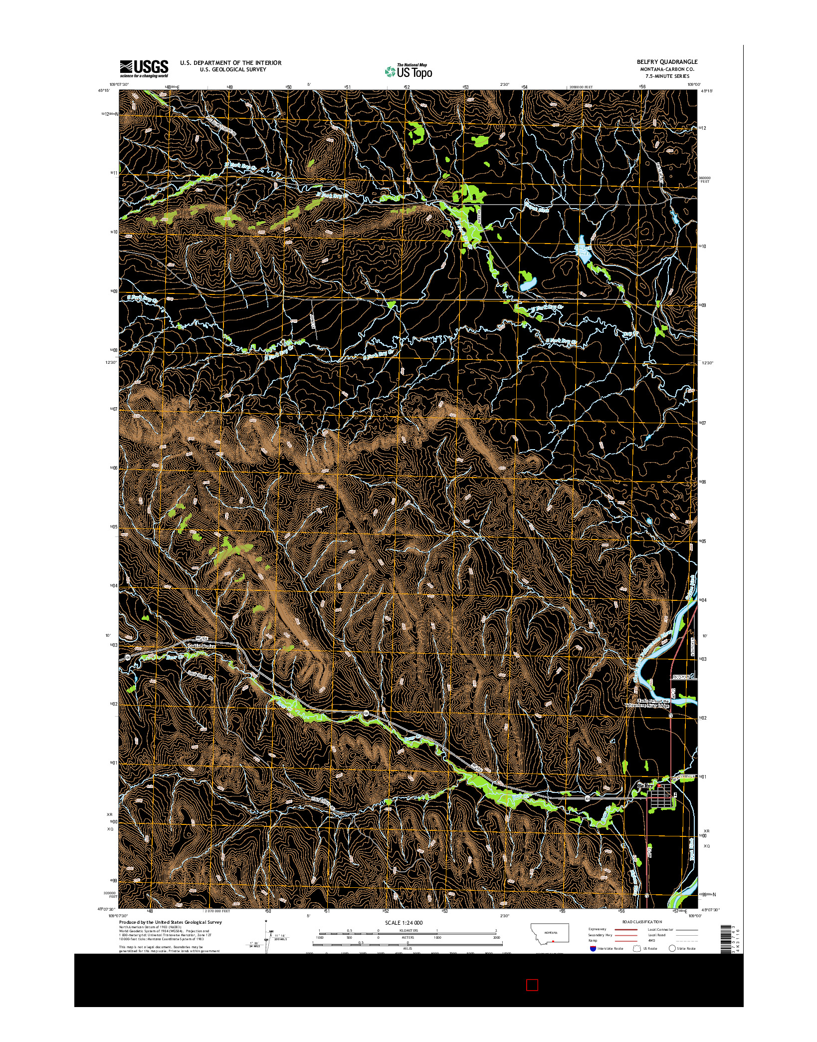 USGS US TOPO 7.5-MINUTE MAP FOR BELFRY, MT 2014