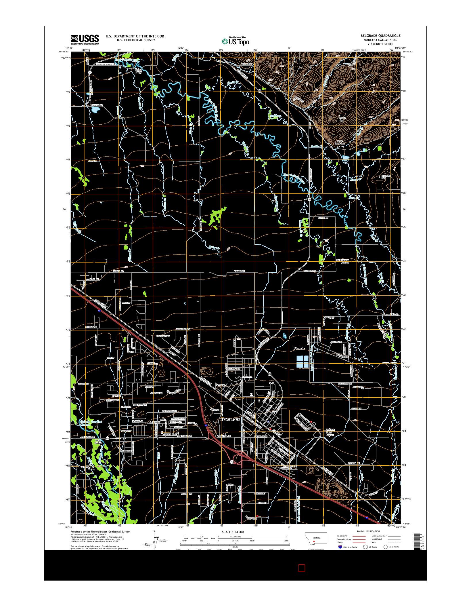 USGS US TOPO 7.5-MINUTE MAP FOR BELGRADE, MT 2014