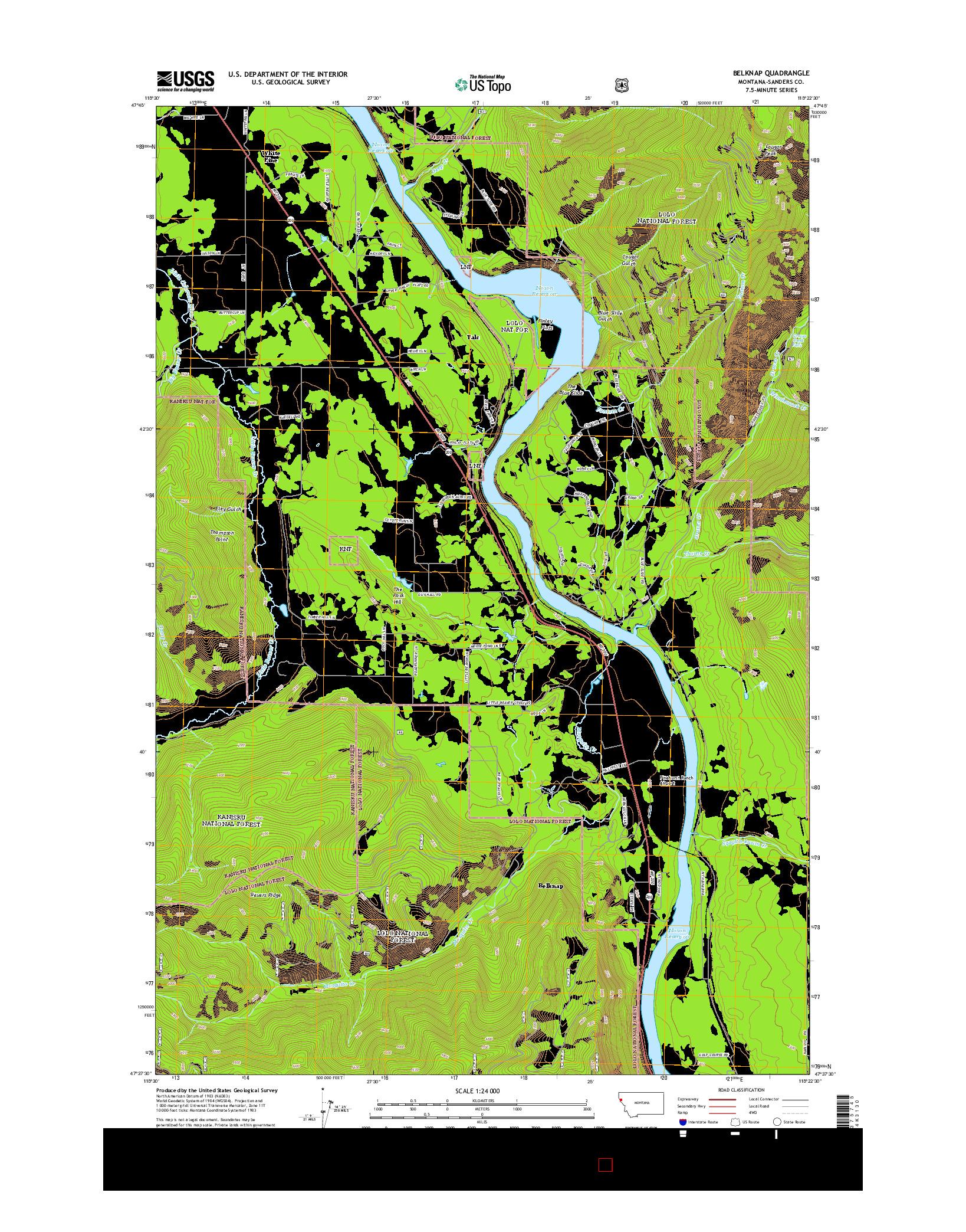 USGS US TOPO 7.5-MINUTE MAP FOR BELKNAP, MT 2014