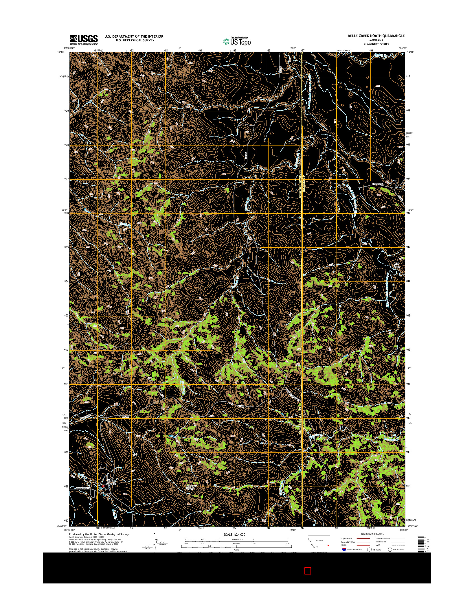 USGS US TOPO 7.5-MINUTE MAP FOR BELLE CREEK NORTH, MT 2014