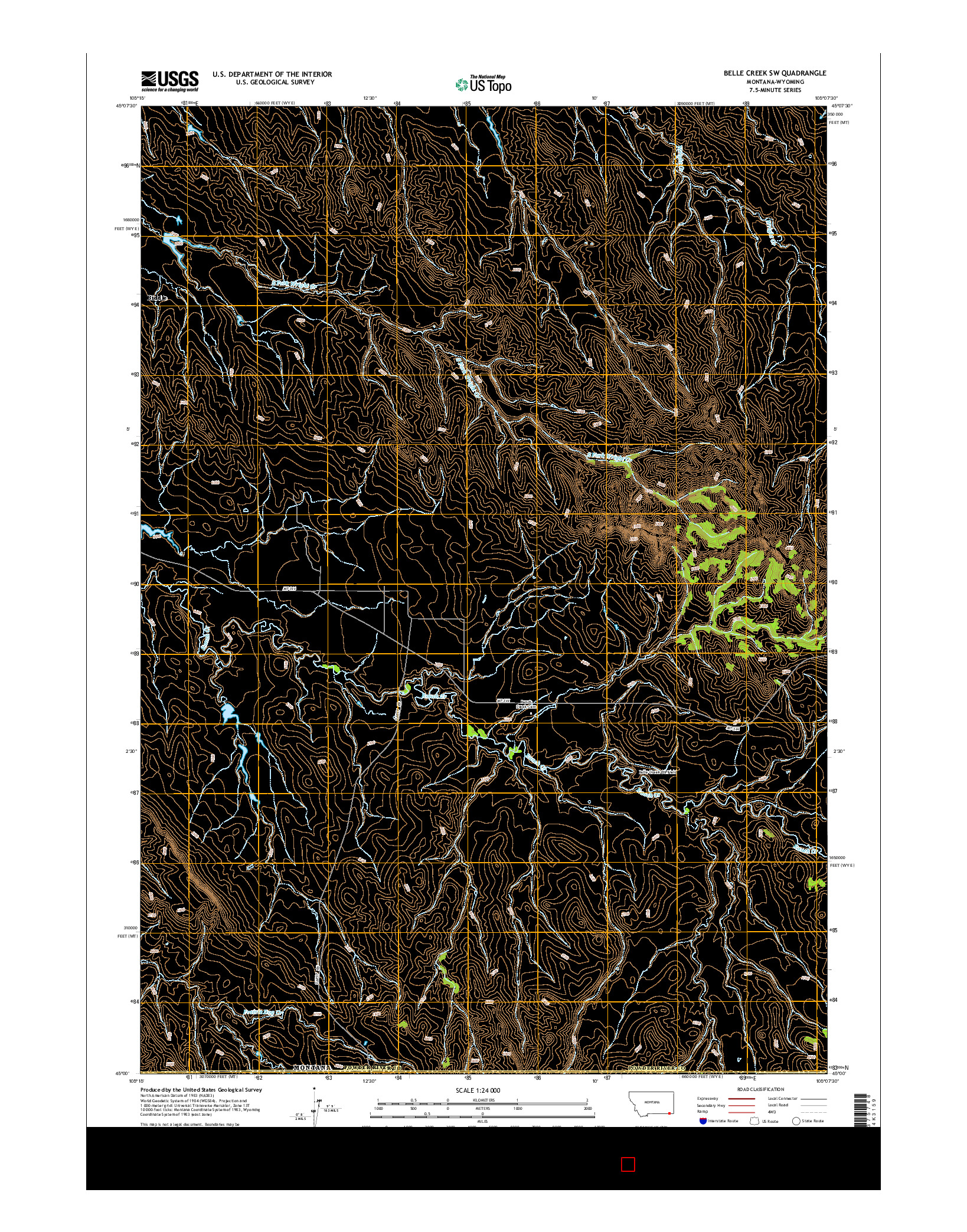 USGS US TOPO 7.5-MINUTE MAP FOR BELLE CREEK SW, MT-WY 2014