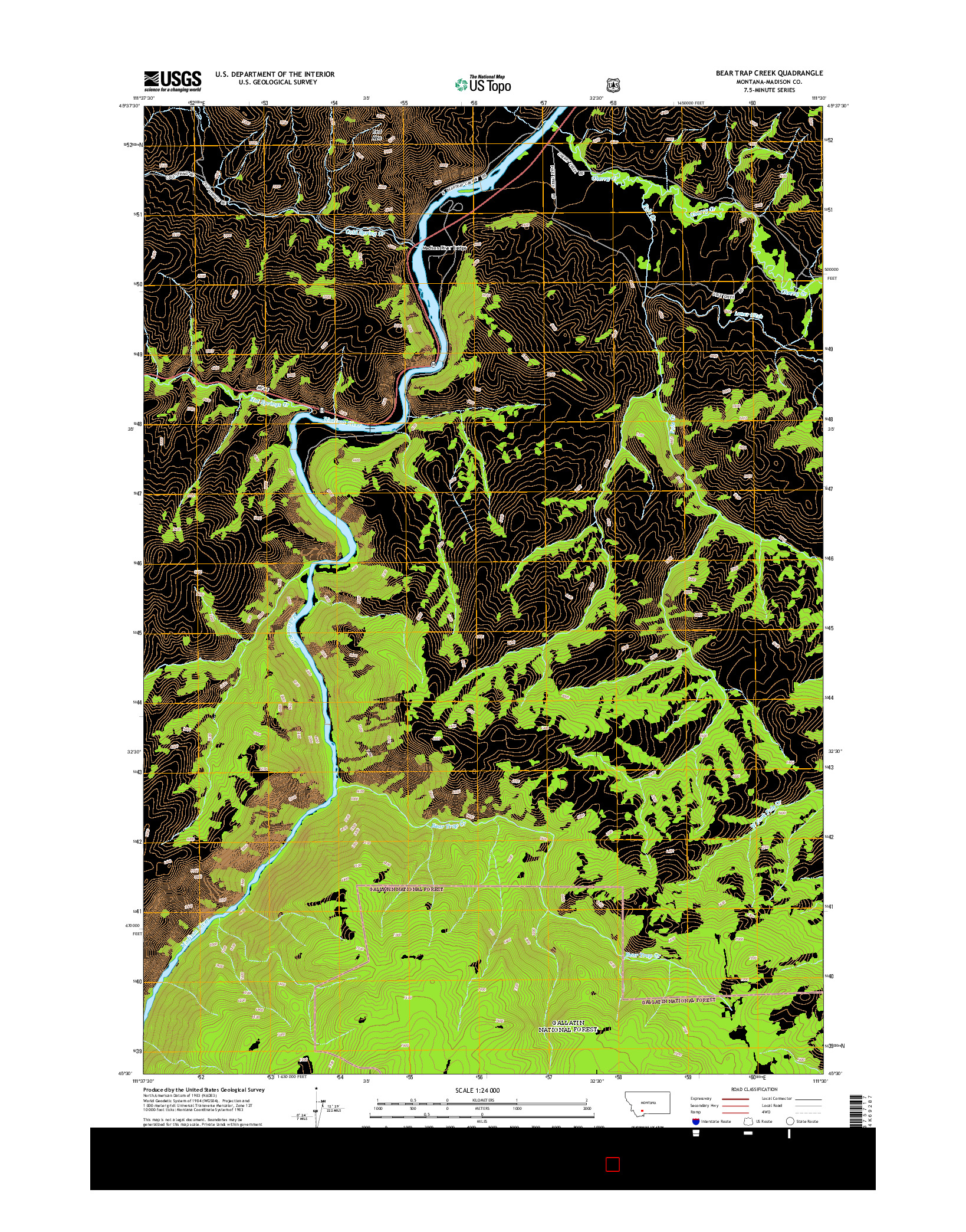 USGS US TOPO 7.5-MINUTE MAP FOR BEAR TRAP CREEK, MT 2014