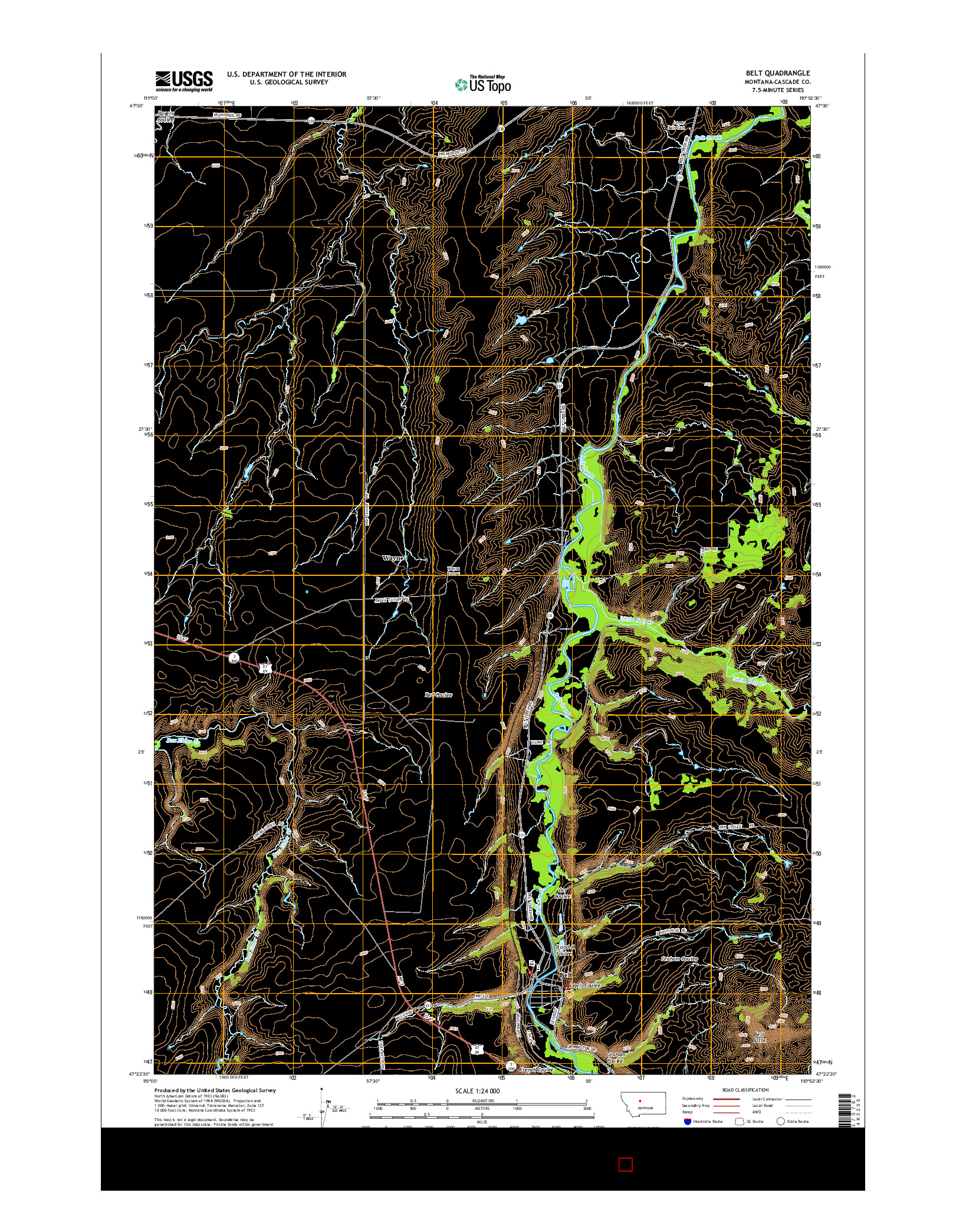 USGS US TOPO 7.5-MINUTE MAP FOR BELT, MT 2014