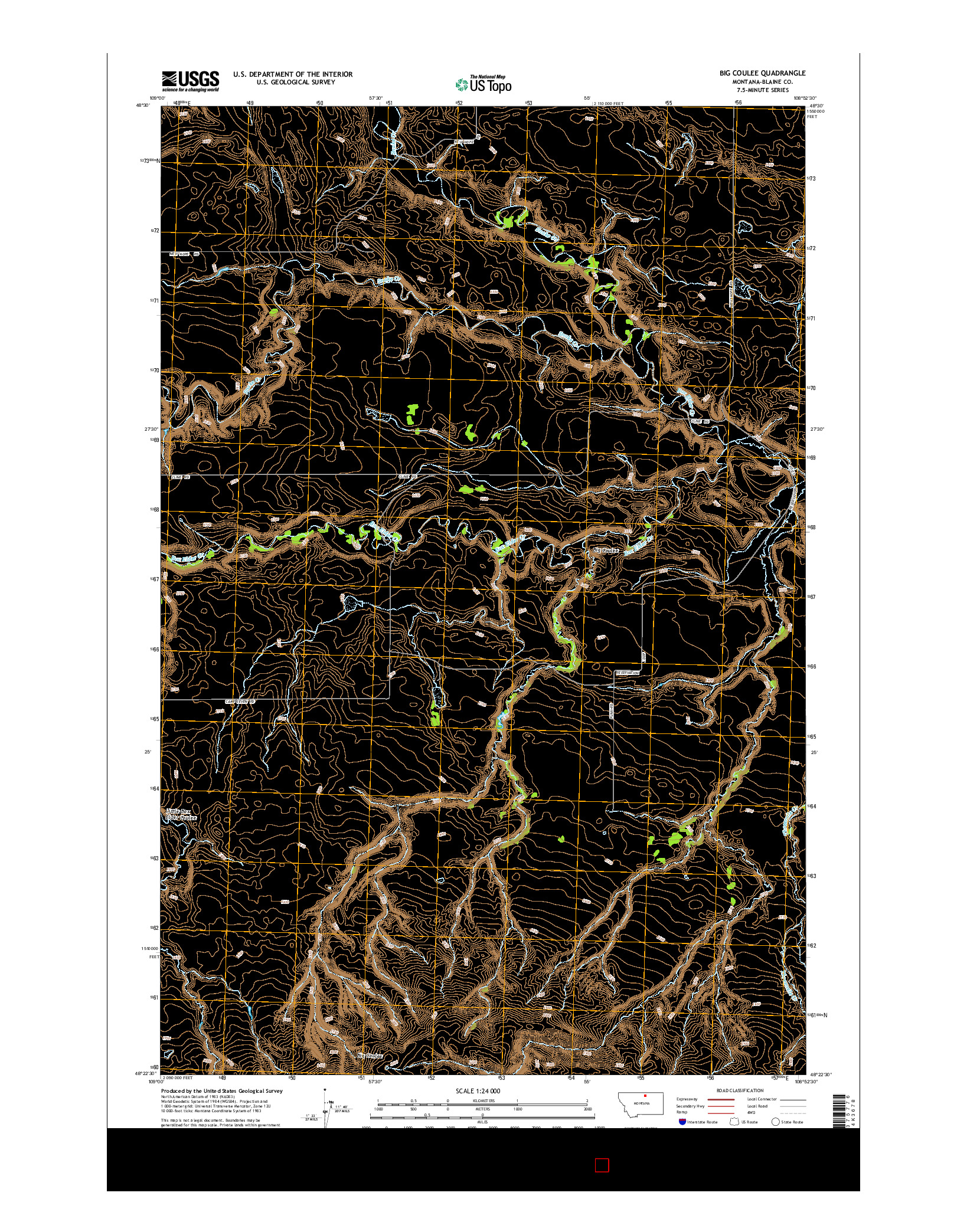 USGS US TOPO 7.5-MINUTE MAP FOR BIG COULEE, MT 2014