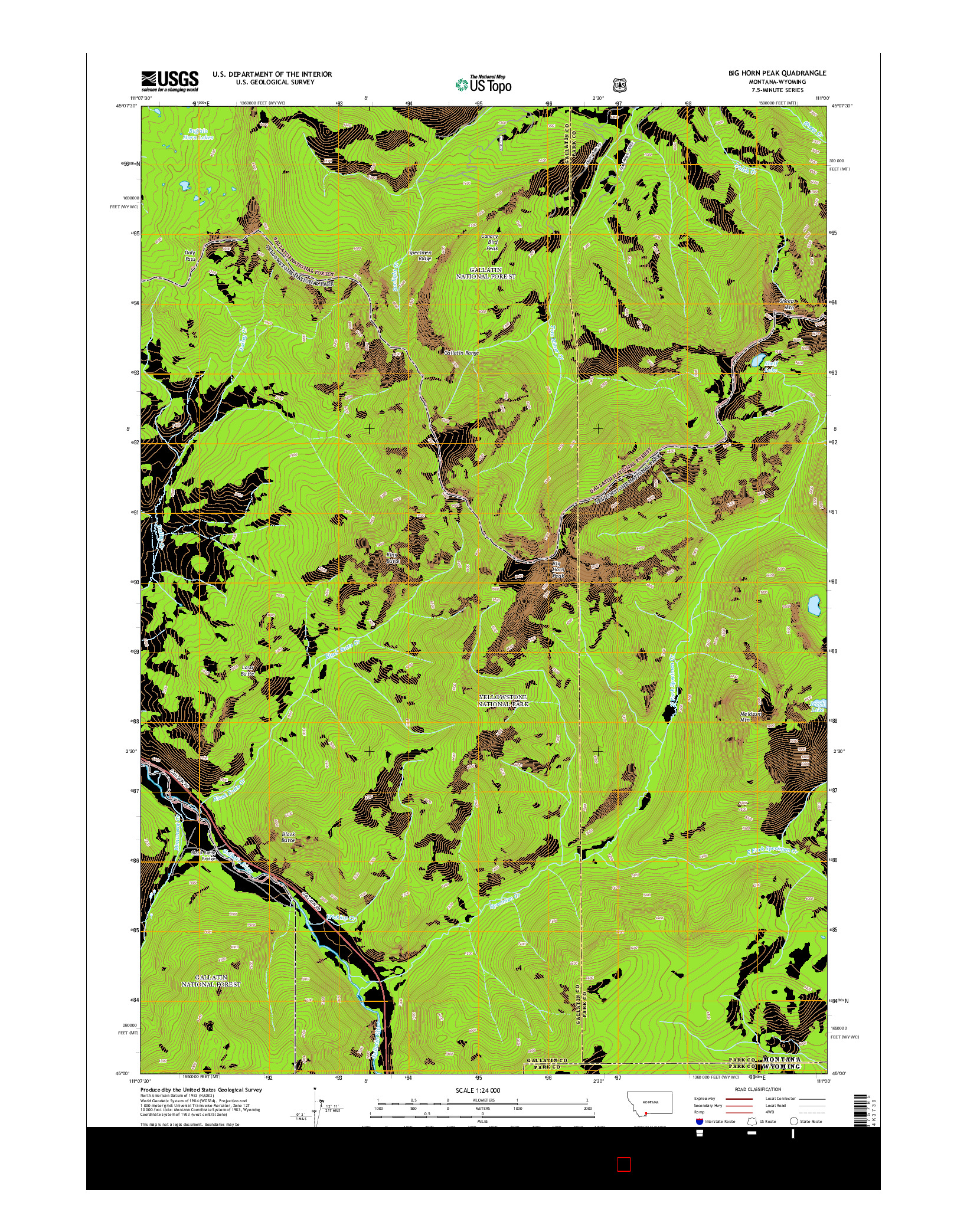 USGS US TOPO 7.5-MINUTE MAP FOR BIG HORN PEAK, MT-WY 2014