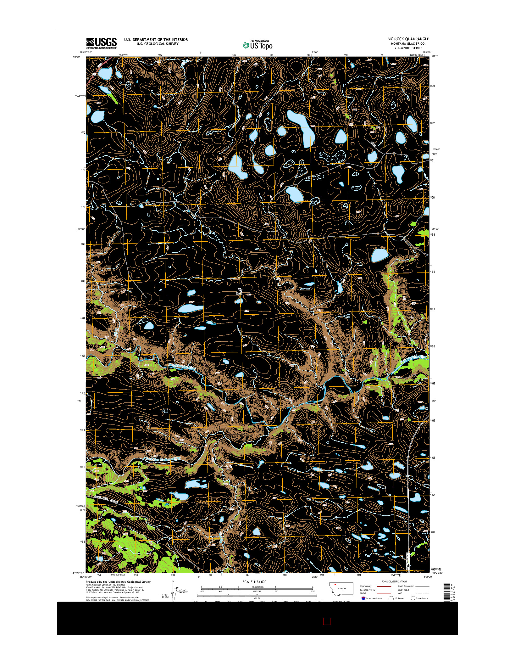 USGS US TOPO 7.5-MINUTE MAP FOR BIG ROCK, MT 2014