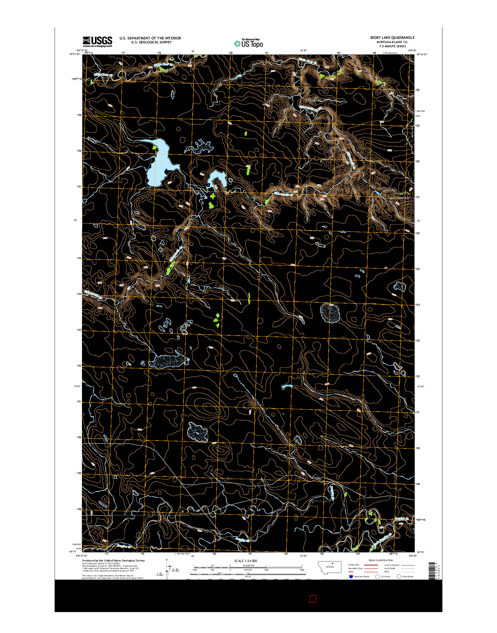 USGS US TOPO 7.5-MINUTE MAP FOR BIGBY LAKE, MT 2014