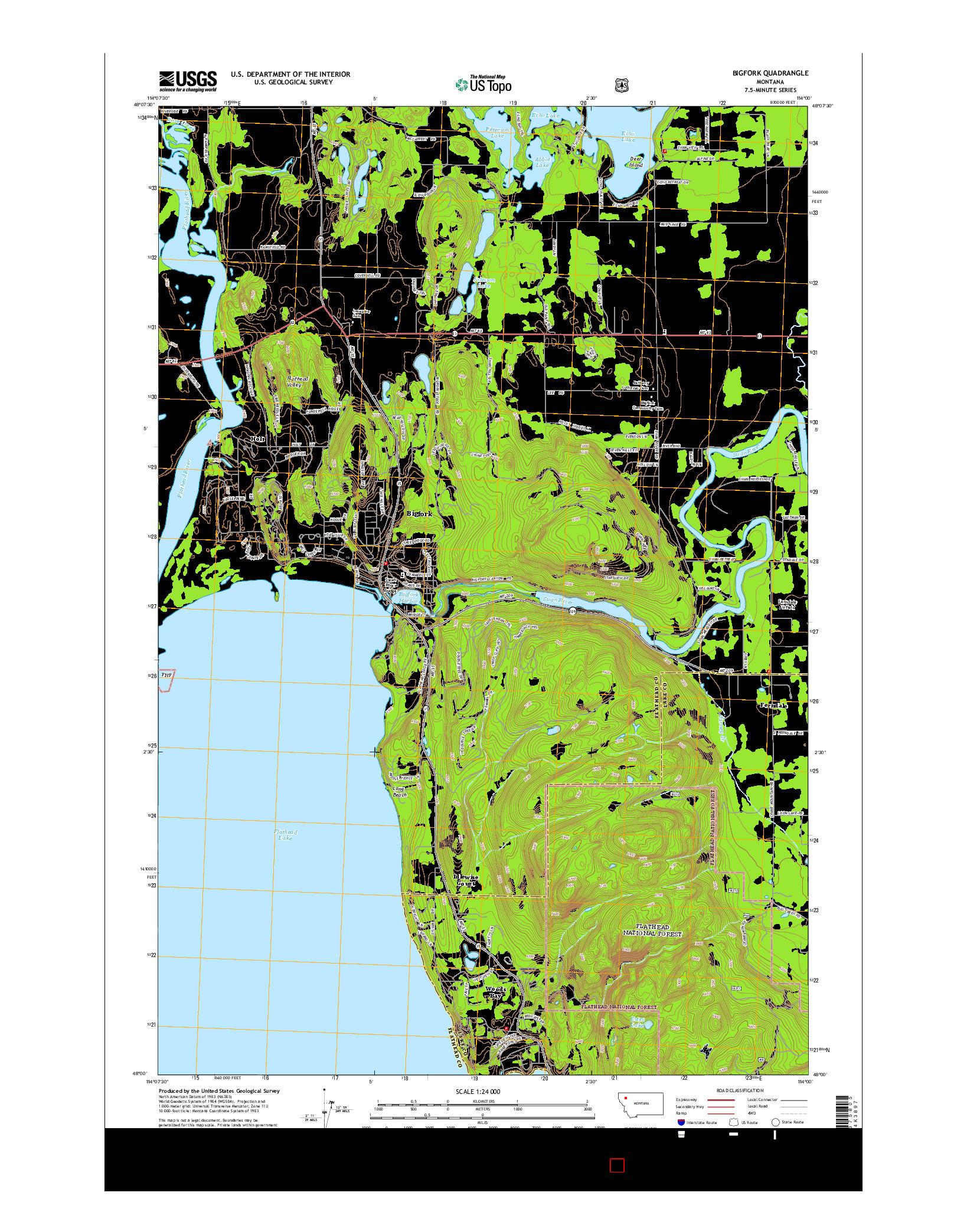 USGS US TOPO 7.5-MINUTE MAP FOR BIGFORK, MT 2014