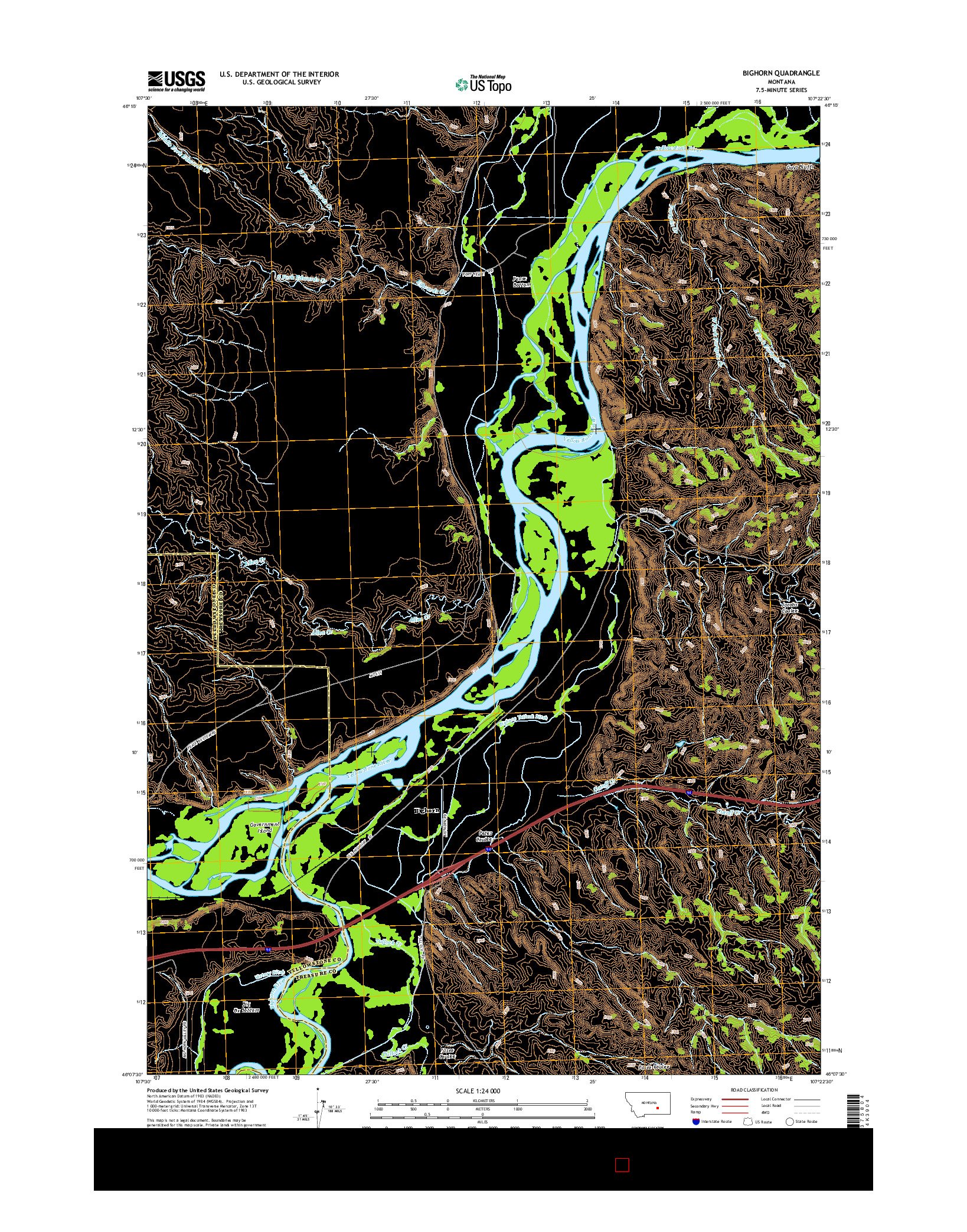 USGS US TOPO 7.5-MINUTE MAP FOR BIGHORN, MT 2014